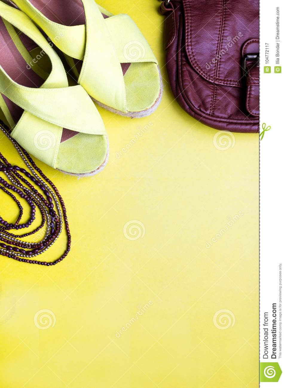 a0a3365939 Set of Woman`s Things Accessories to Summer Season. Brown Bag Yellow  Platform Sandals