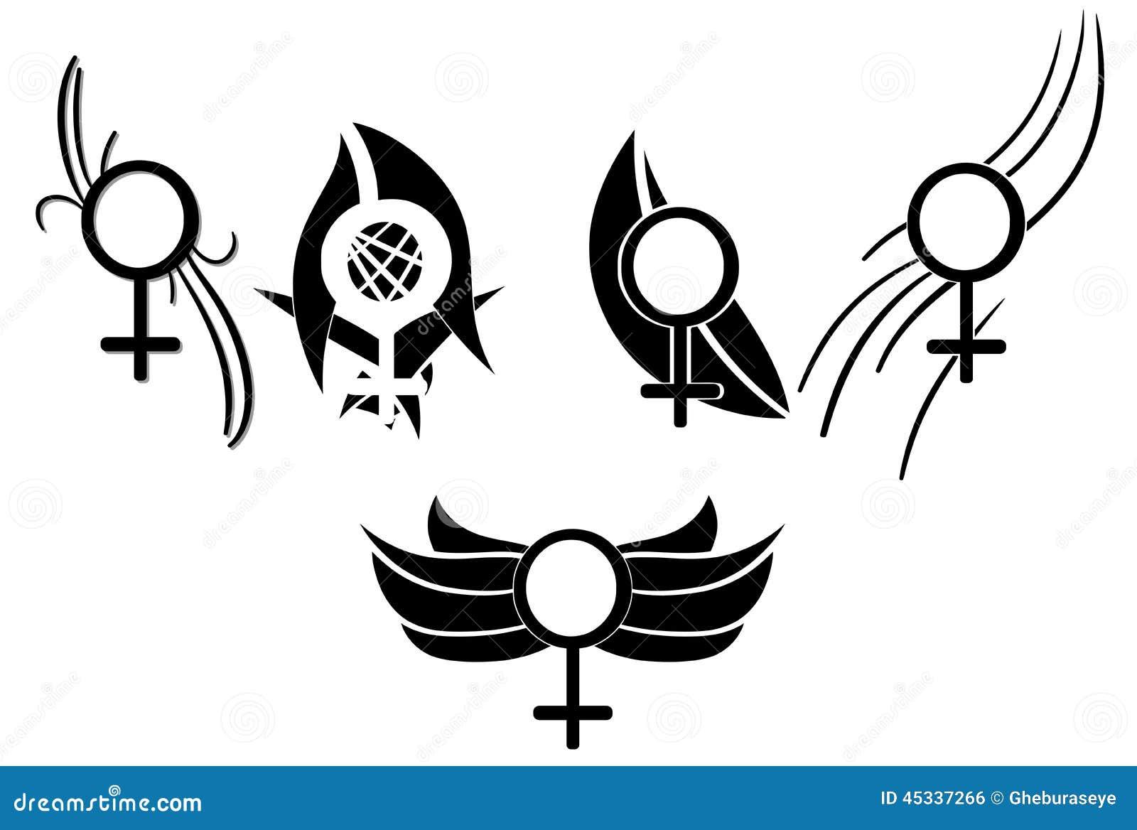 Set Of Woman Symbols Tattoo Stock Illustration Illustration Of