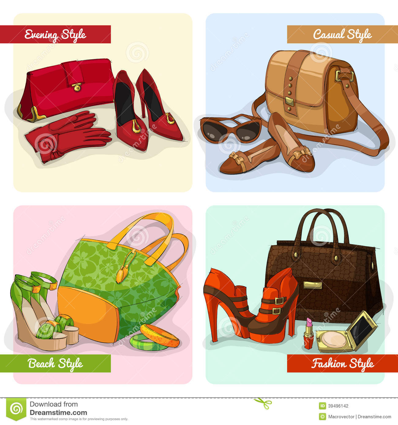 Set Of Women Bags Shoes And Accessories Stock Vector