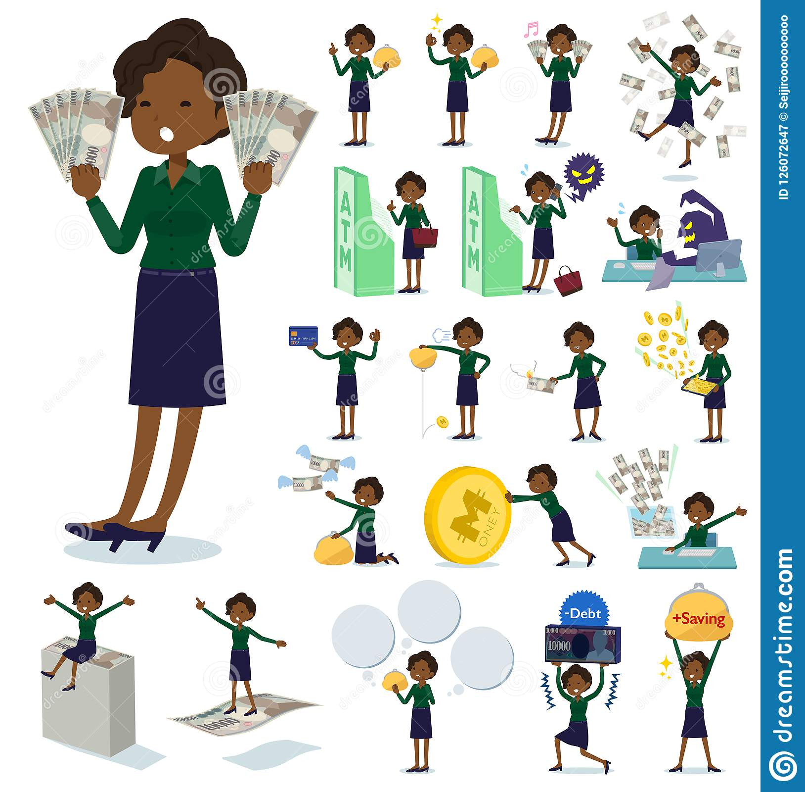 Flat Type Business Black Women Money Stock Vector Illustration