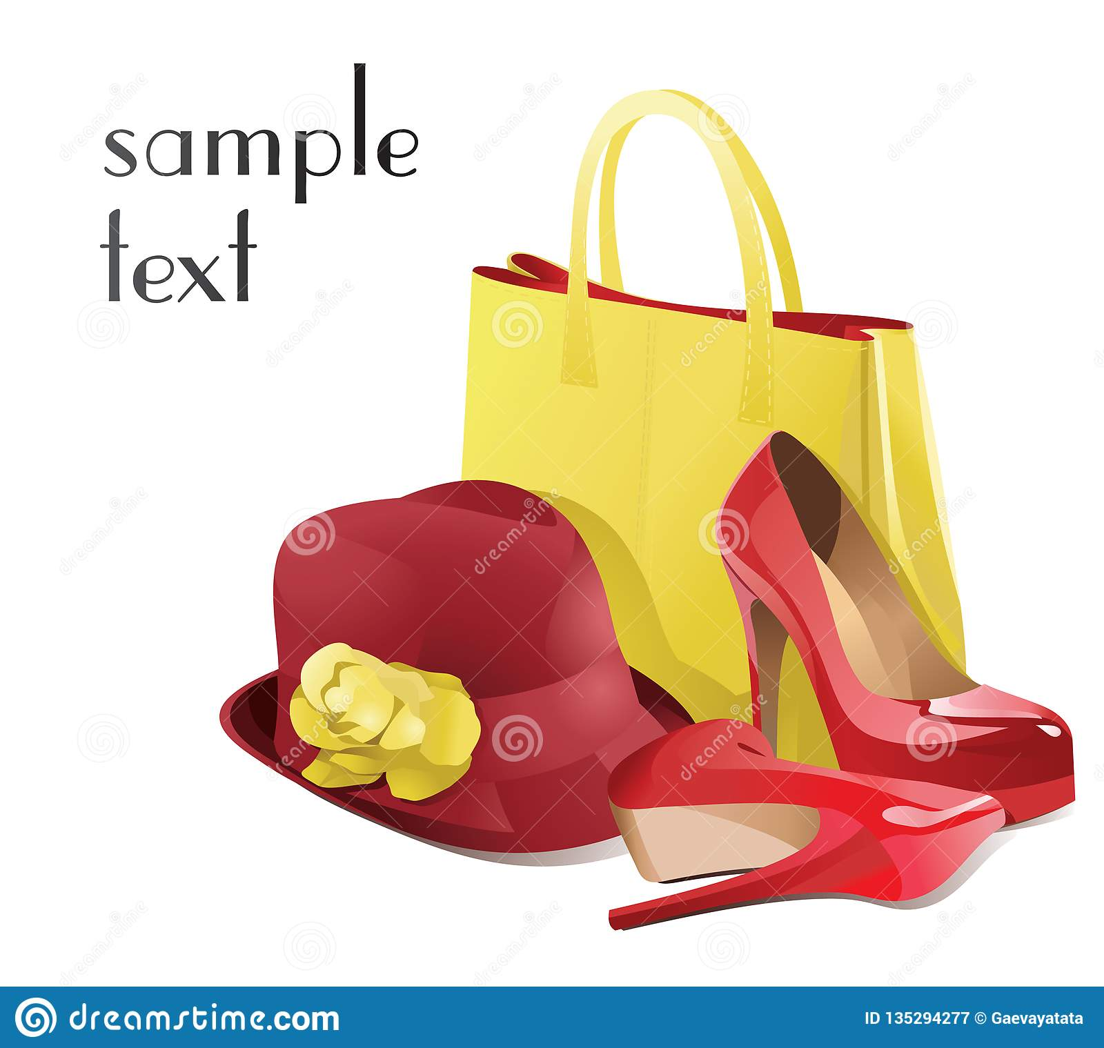 Set of women`s accessories with red shoes. Vector