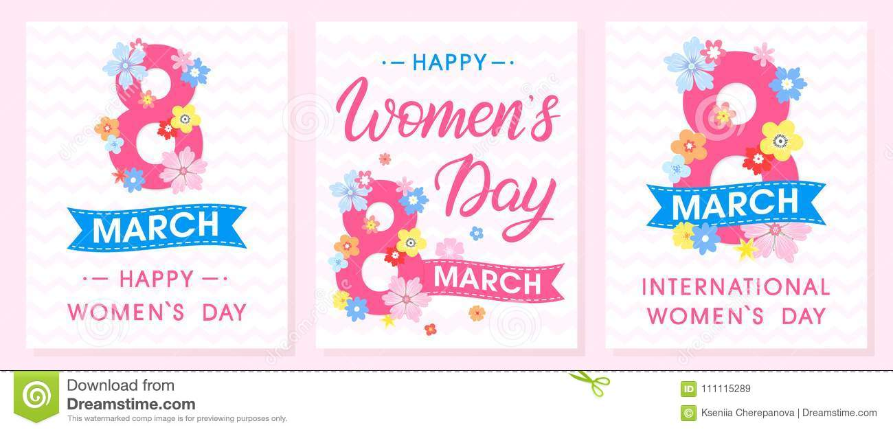 Set Of Womens Day Creative Cards Stock Vector Illustration Of