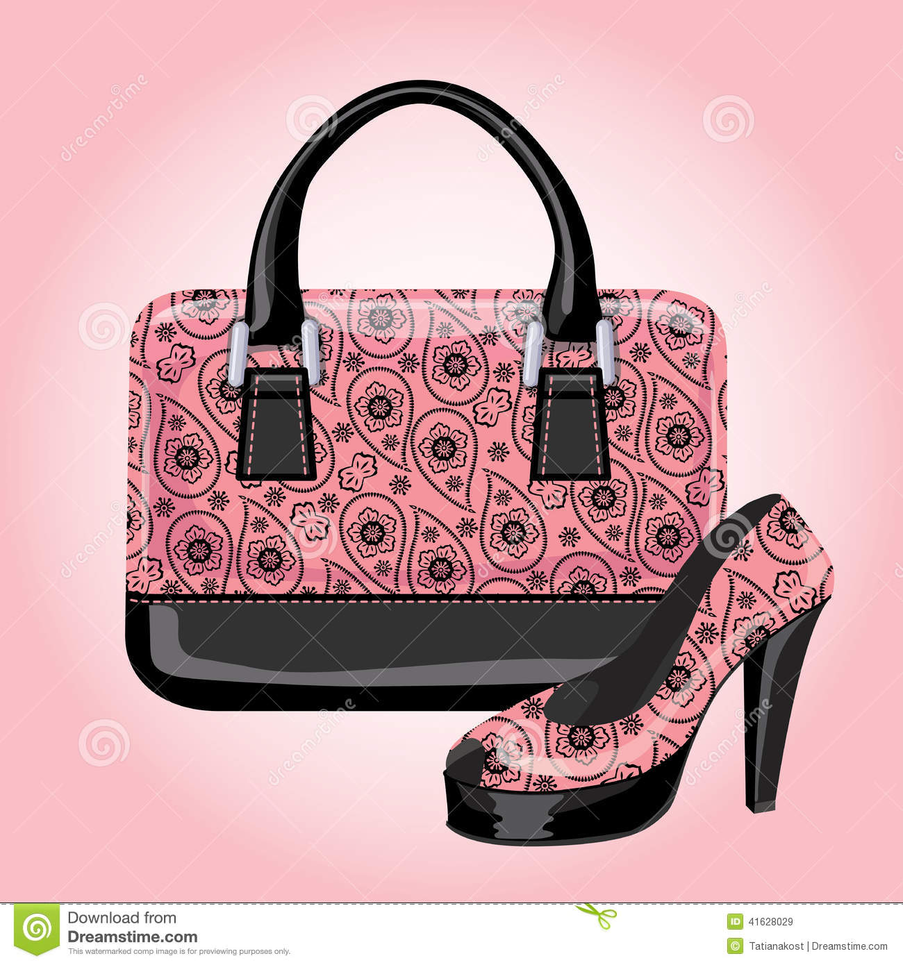 Set Of Women's Handbags With Paisley Ornament Stock Vector ...