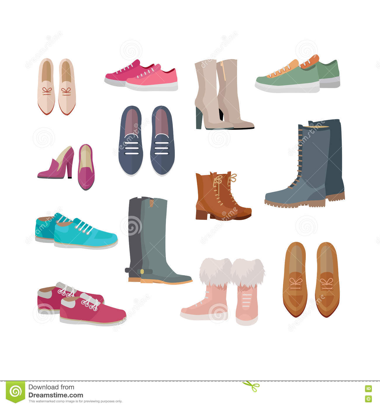 Set of Women s Shoes Vectors in Flat Design