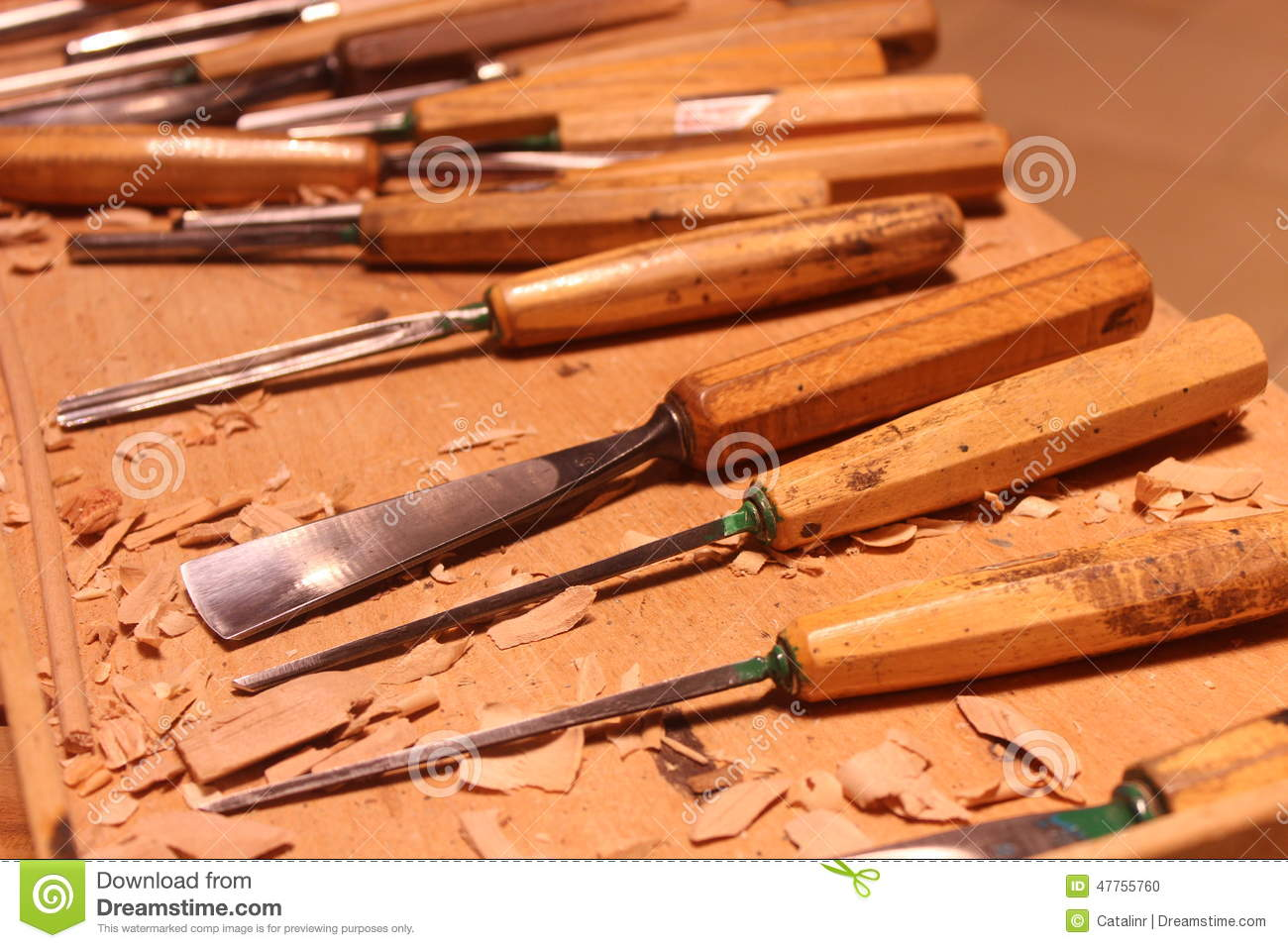 Set of wood carving tools on wooden table stock photo image of