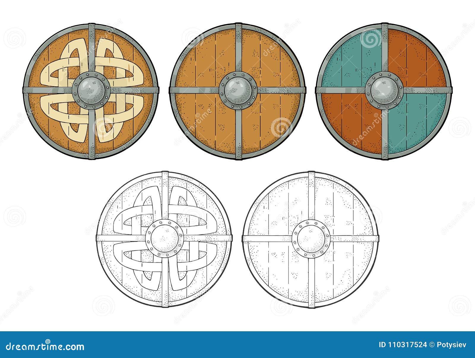 Set Wood Round Shields With Viking Runes Iron Border Engraving
