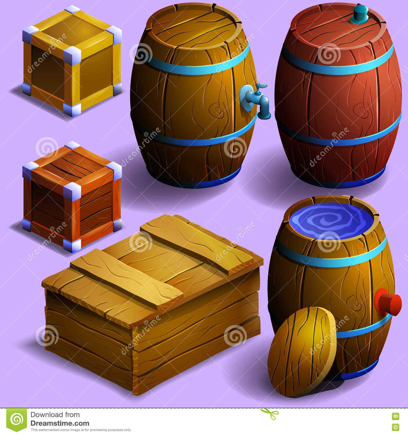 Set Of Wooden Barrels And Boxes Stock Vector Illustration Of