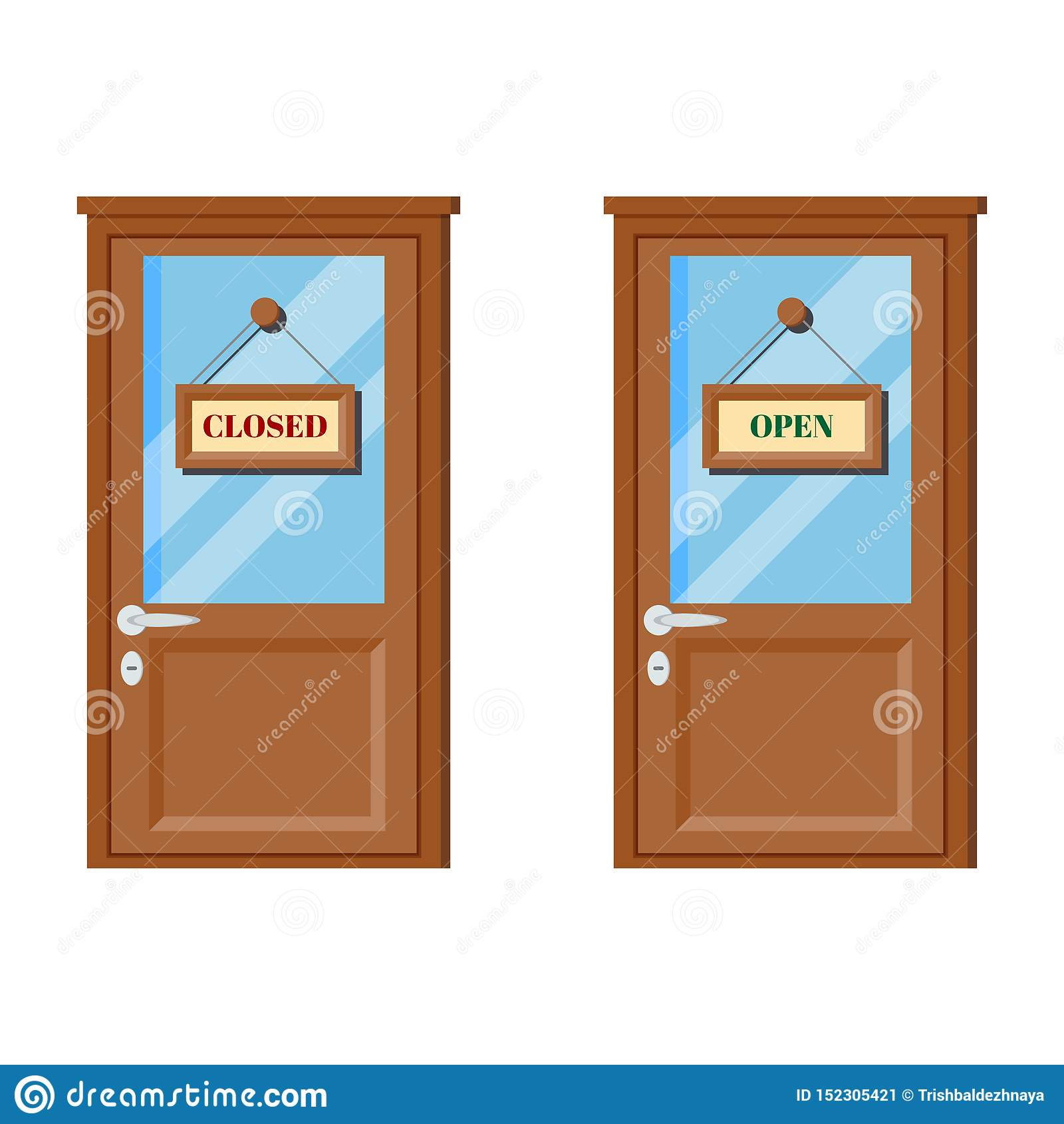 Set of wooden doors with glass, door handle, open and closed business signs