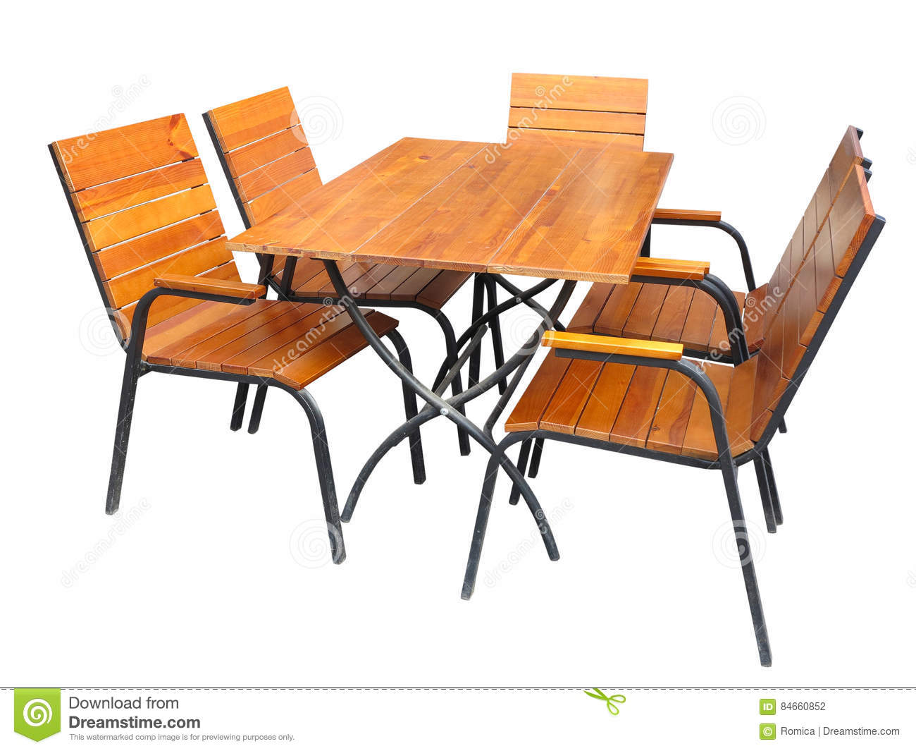 Set Of Wooden Garden Furniture Table And Chairs Isolated ...
