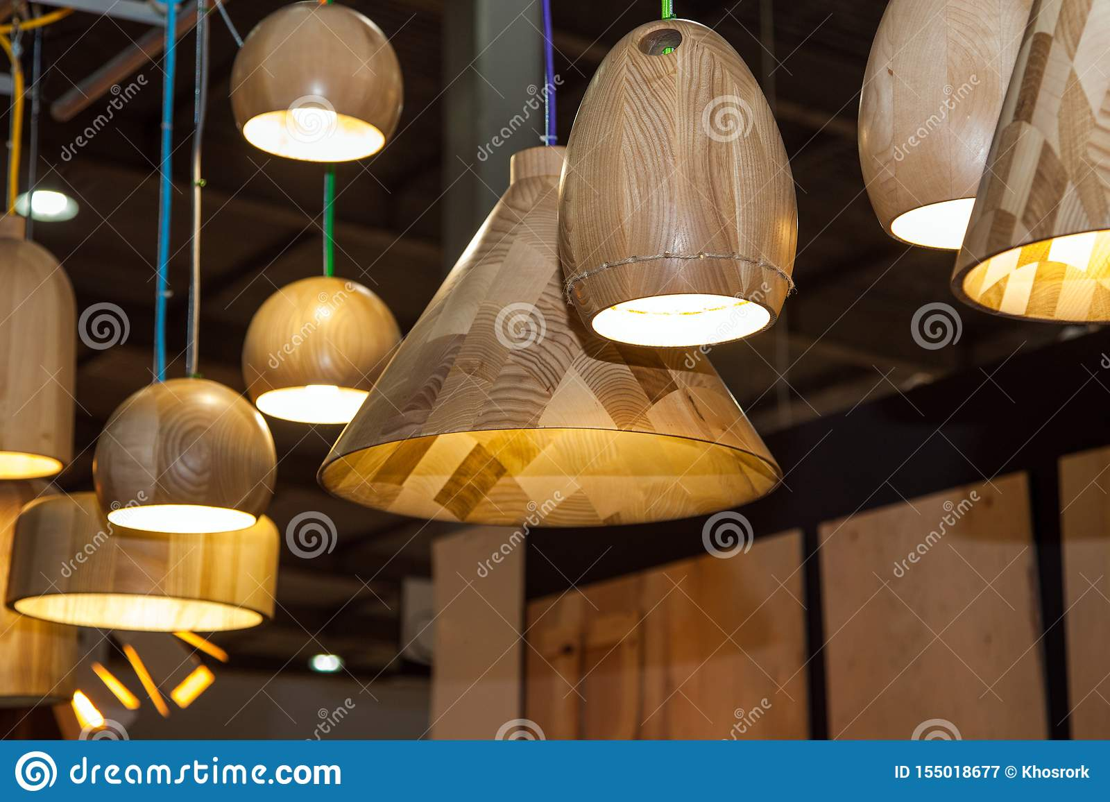 Set Of Wooden Modern Ceiling Light Fixtures Stock Image Image Of Illumination Bright 155018677