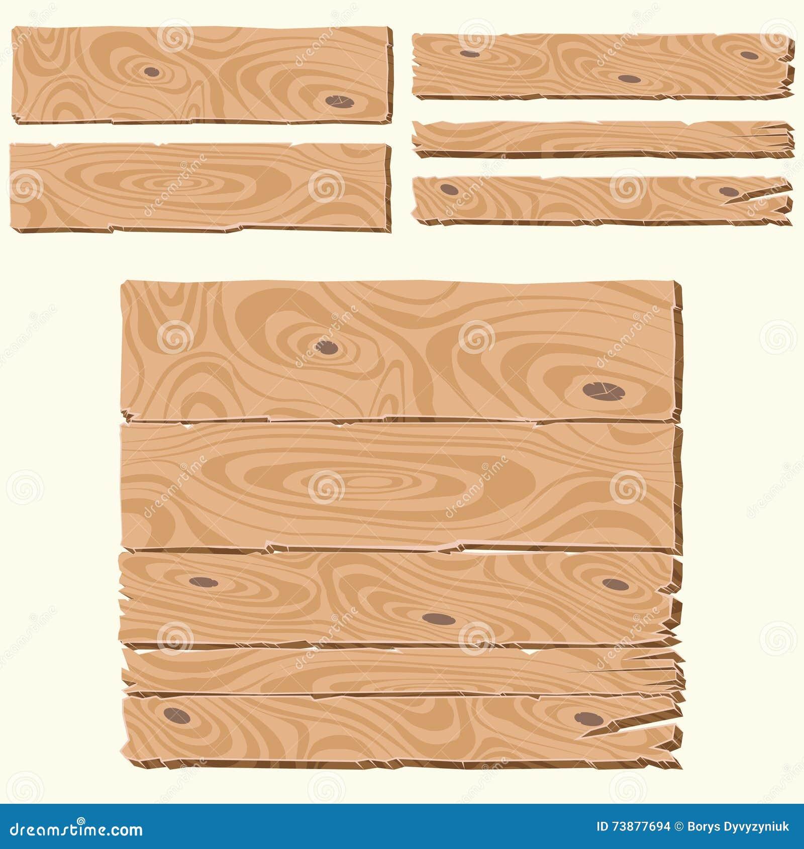 Wooden Plank Cartoon : Set of wooden planks cartoon style, blank wooden boards, wooden banner ...