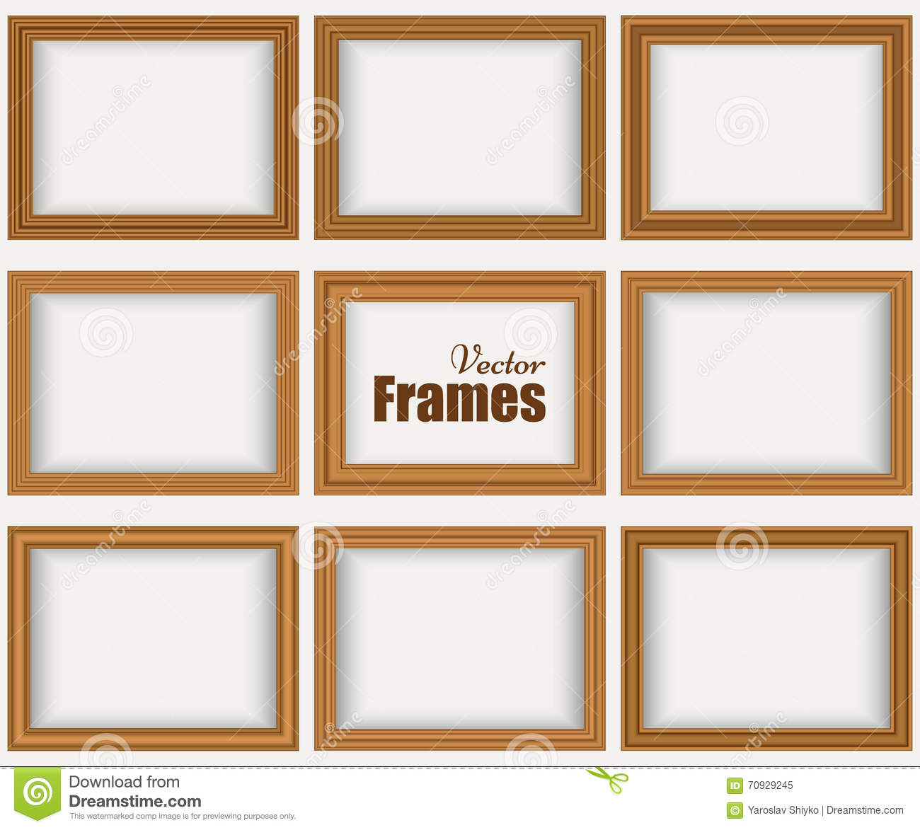 Wood frames set free vector - Royalty Free Vector Frames Illustration Isolated Realistic Set