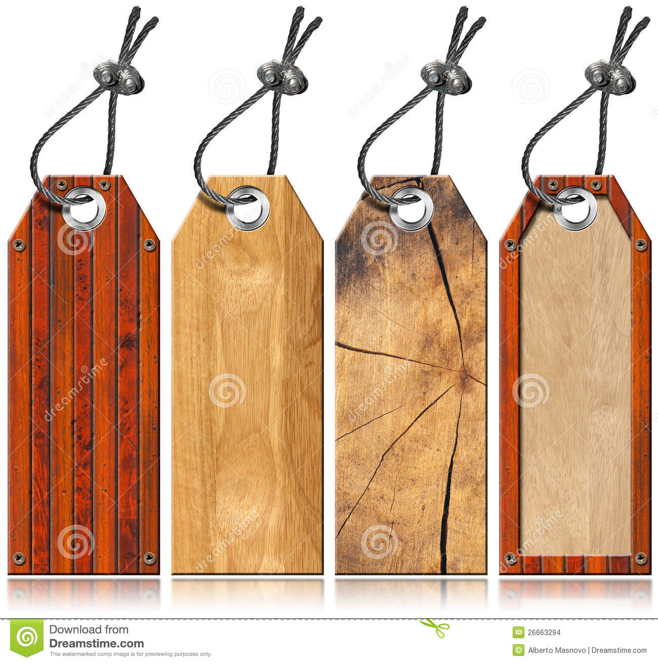 Set Of Wooden Tags - 4 Items Stock Illustration