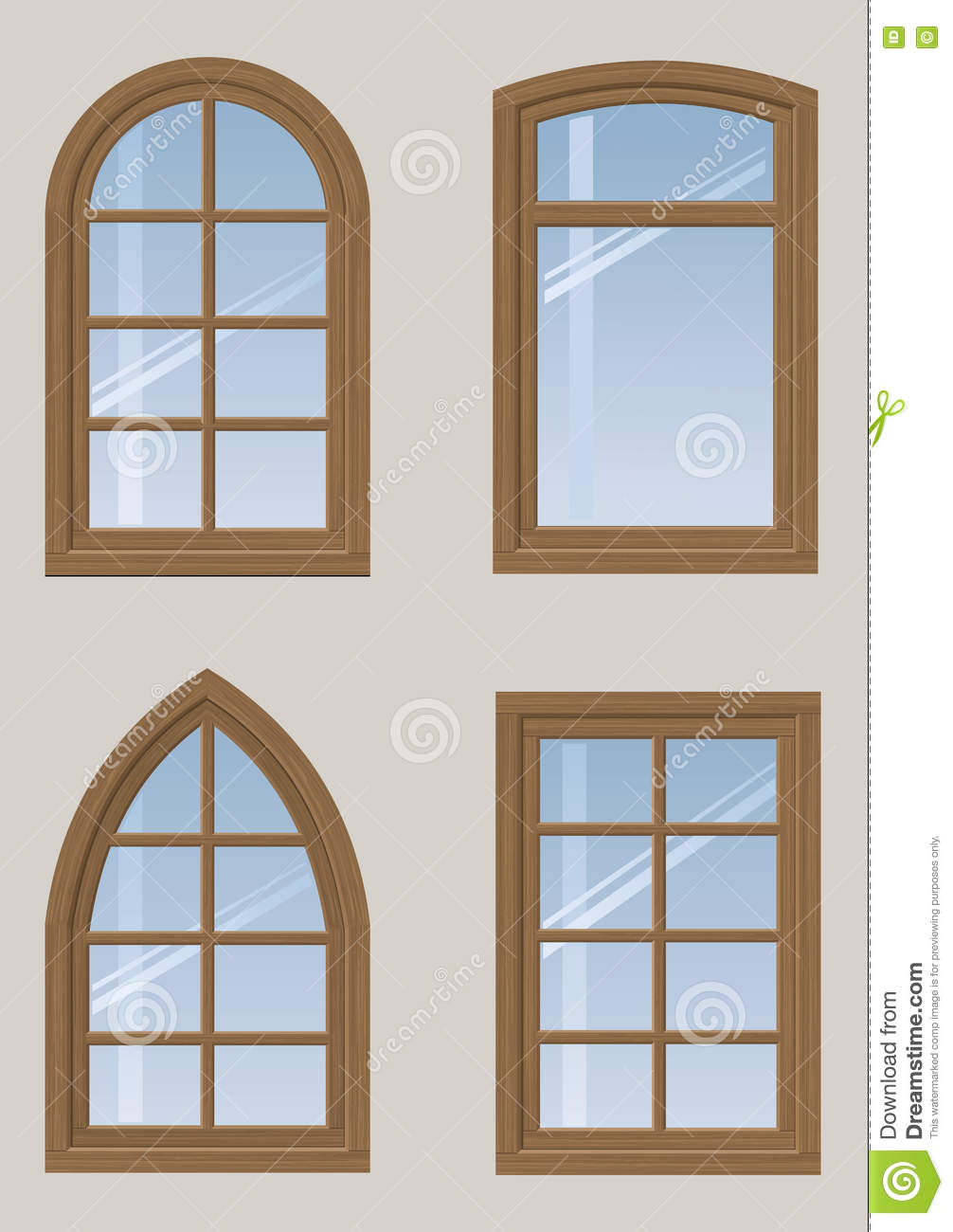 Set of wooden windows stock vector image 75146324 for Window design clipart