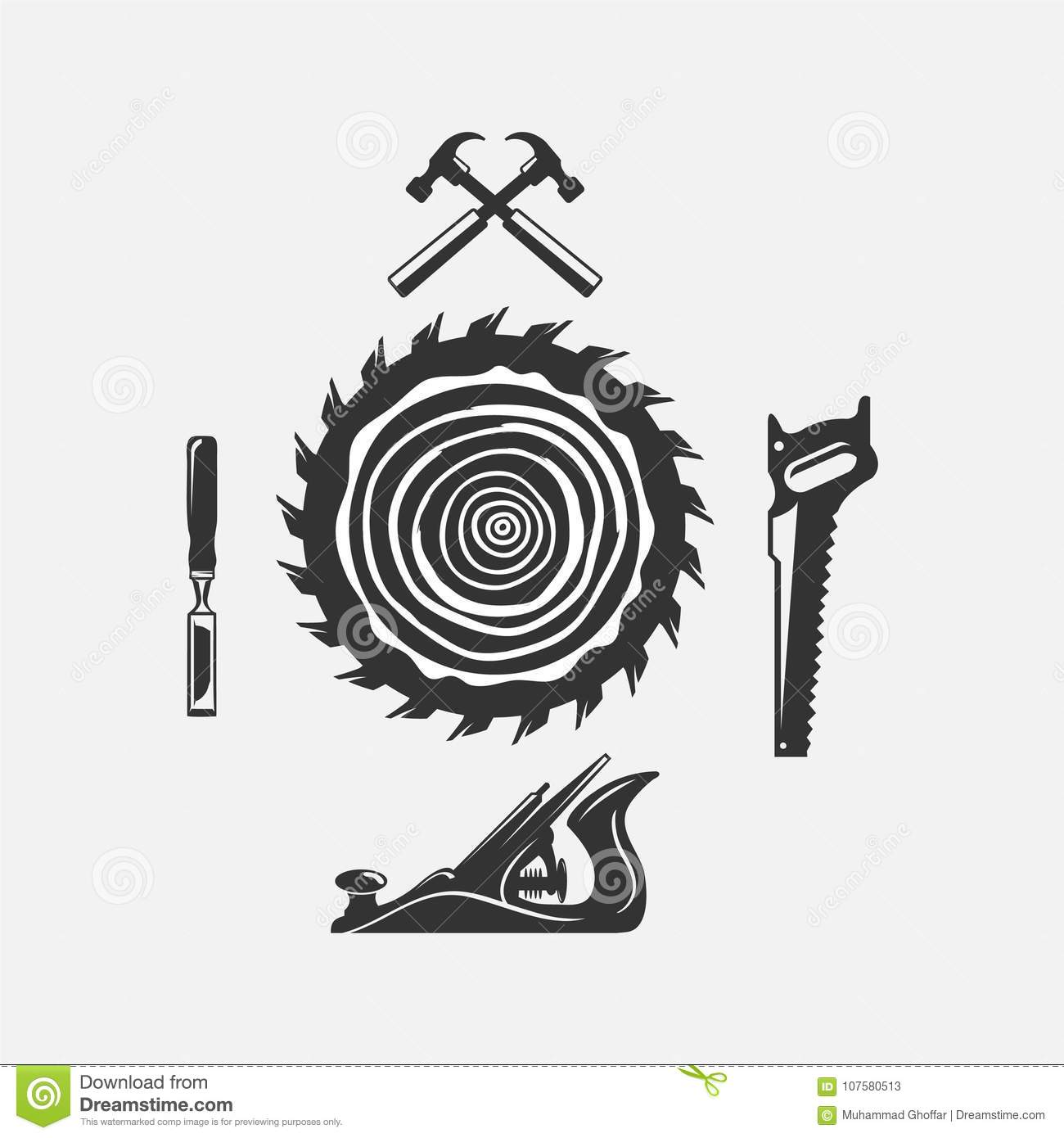 Set Of Woodwork Logo With Hammer And Nail On Background For