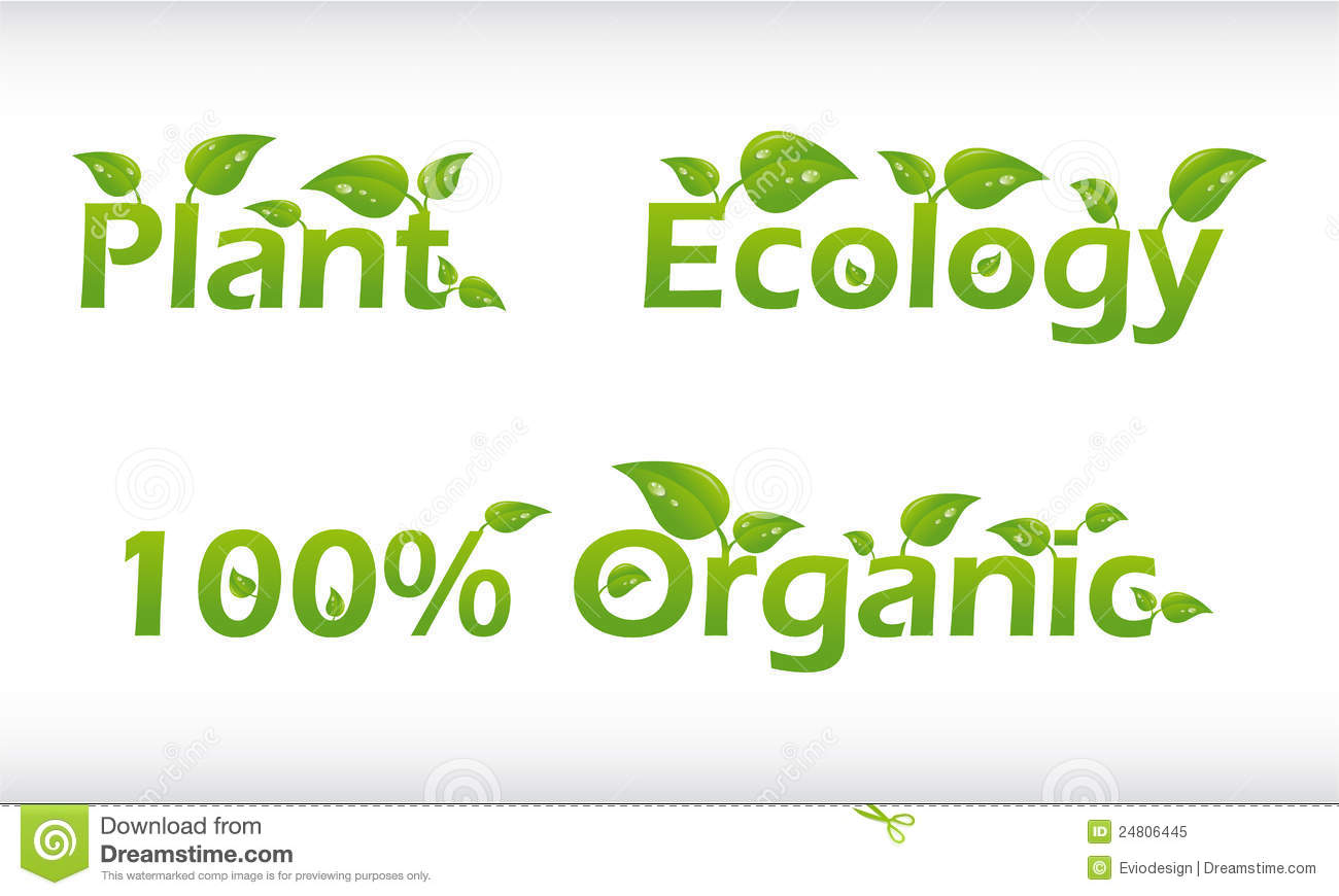 Set Of Words With Leafs Plant Ecology And 100 Stock