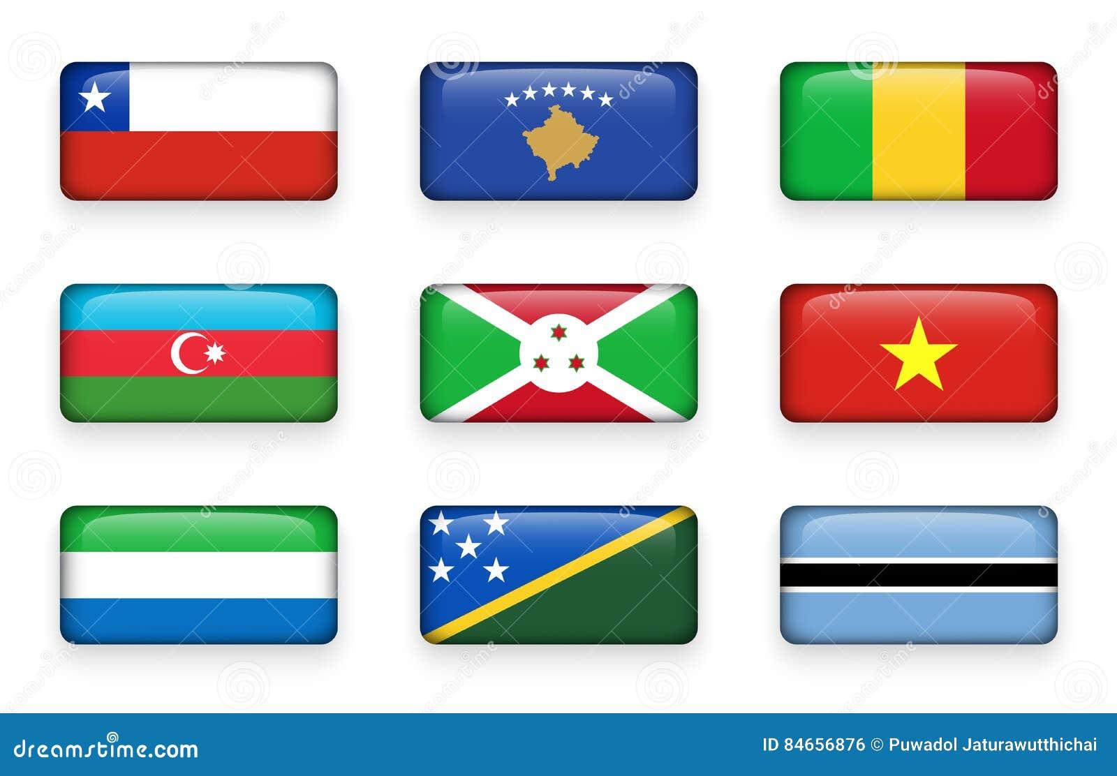 Set of world flags rectangle buttons Chile . Kosovo . Mali . Azerbaijan . Burundi . Vietnam . Sierra Leone . Solomon Islands . B