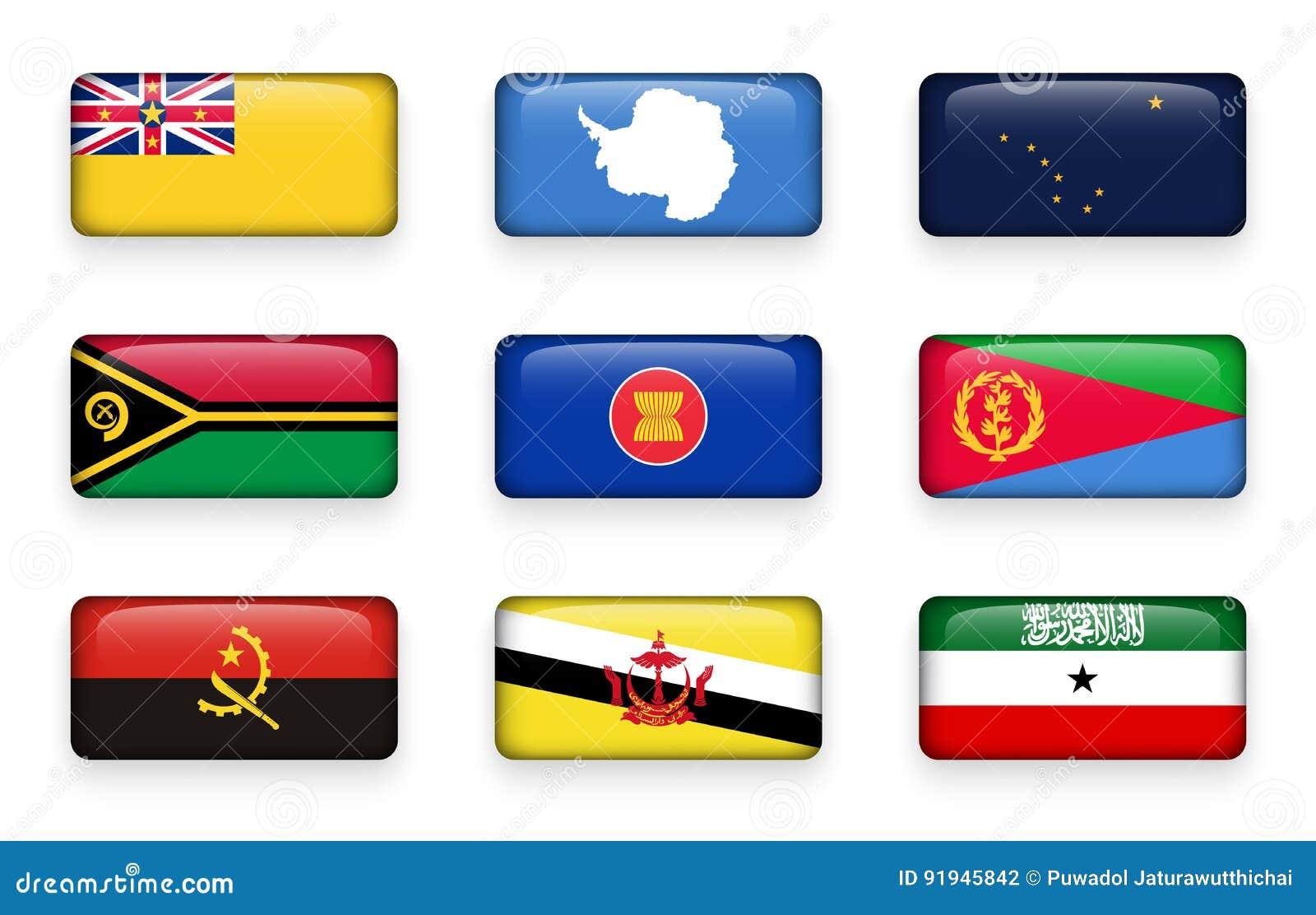 Set of world flags rectangle buttons Niue . Antarctica . Alaska . Vanuatu . ASEAN . Eritrea . Angola . Brunei Darussalam . Somal