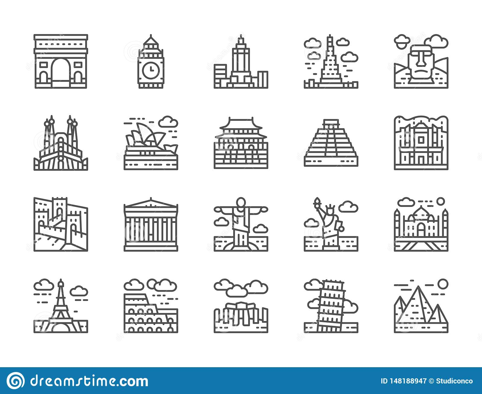 Set of World Landmark Line Icons. Egypt, Italy, United Kingdom, France and more.