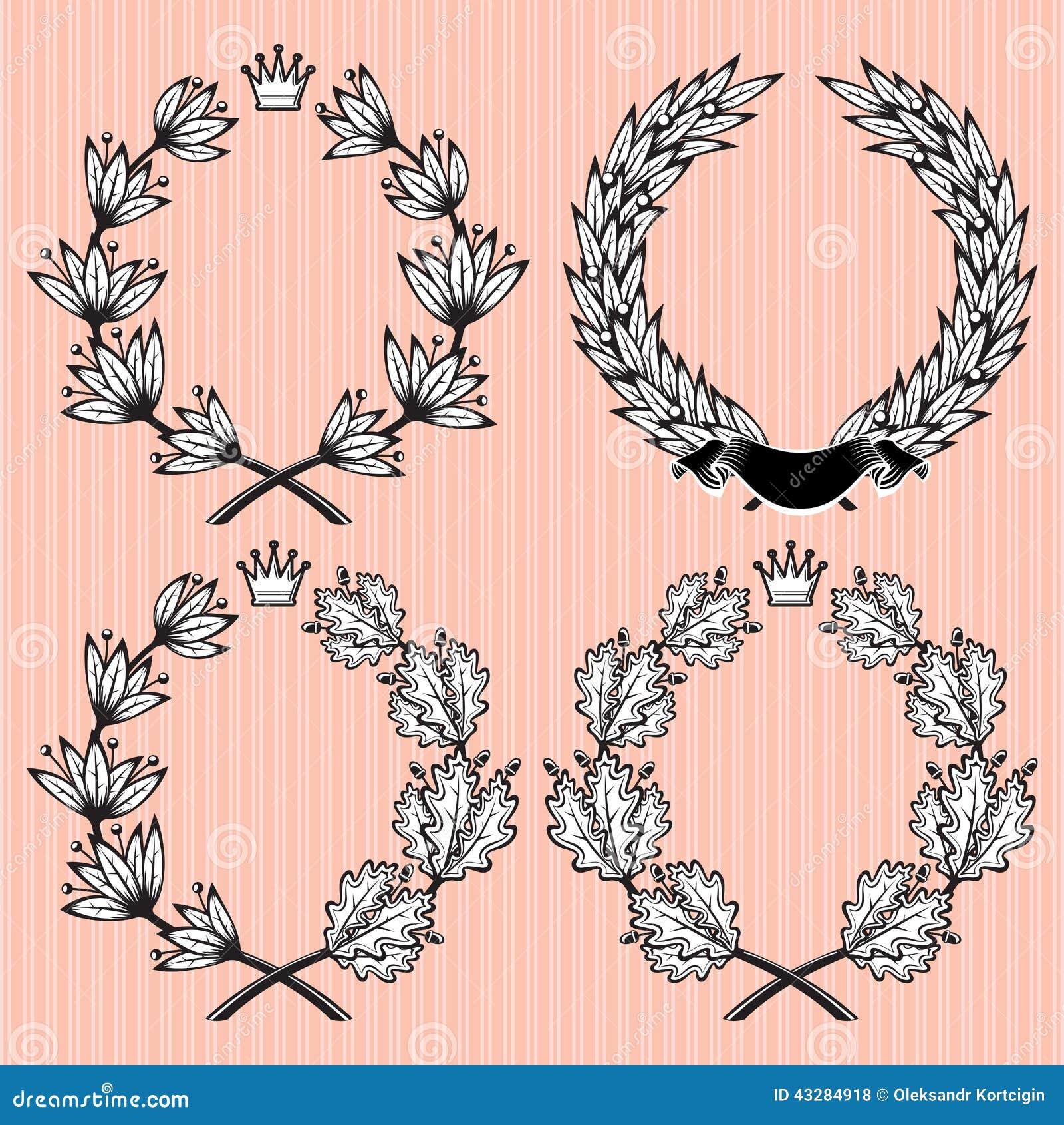 Set of wreath of laurel and oak leaves
