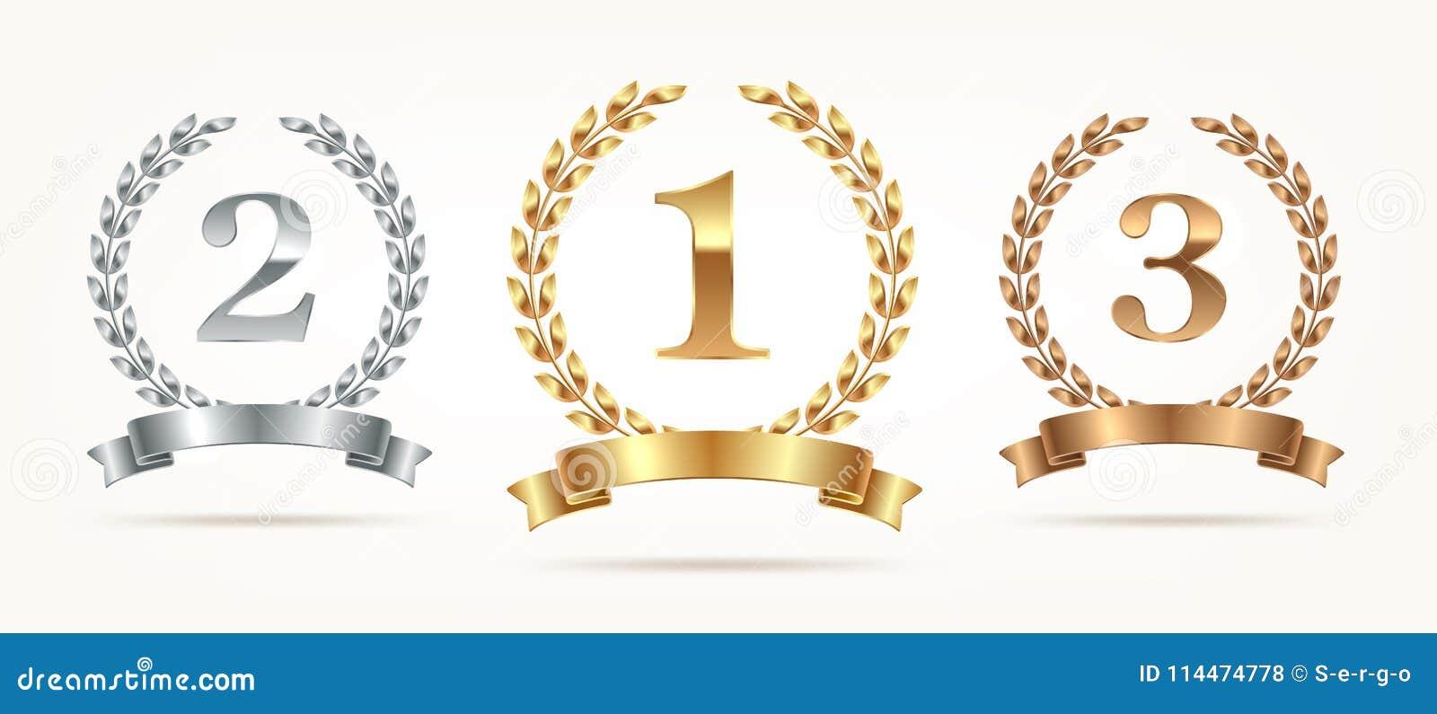 Set wybujali emblematy - złoto, srebro, brąz Pierwszy miejsce, drugi miejsce i na trzecim miejscu znaki z, laurowym wiankiem i fa