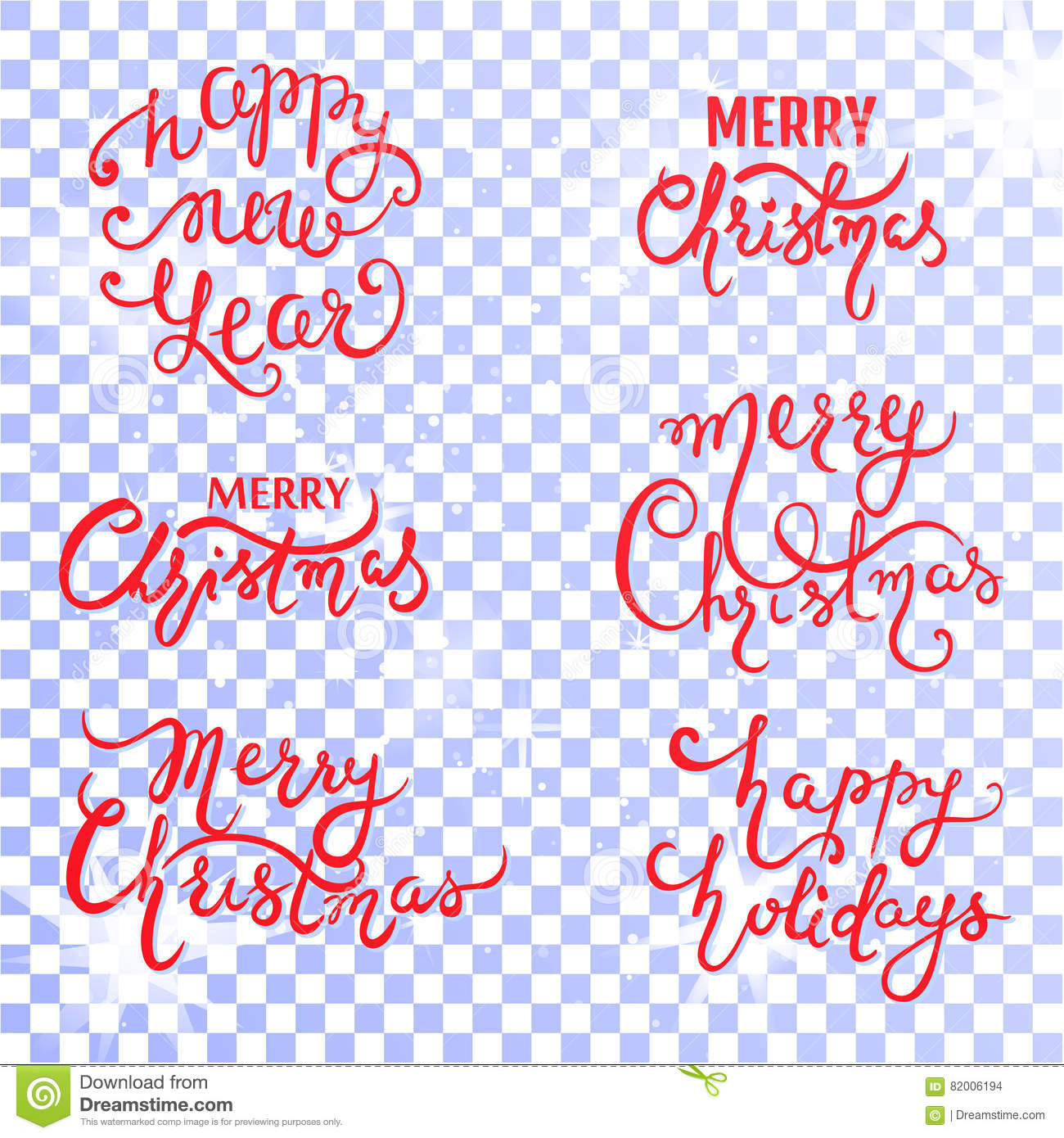 Merry Christmas No Background.Set With Xmas Inscription On A Transparent Background Stock