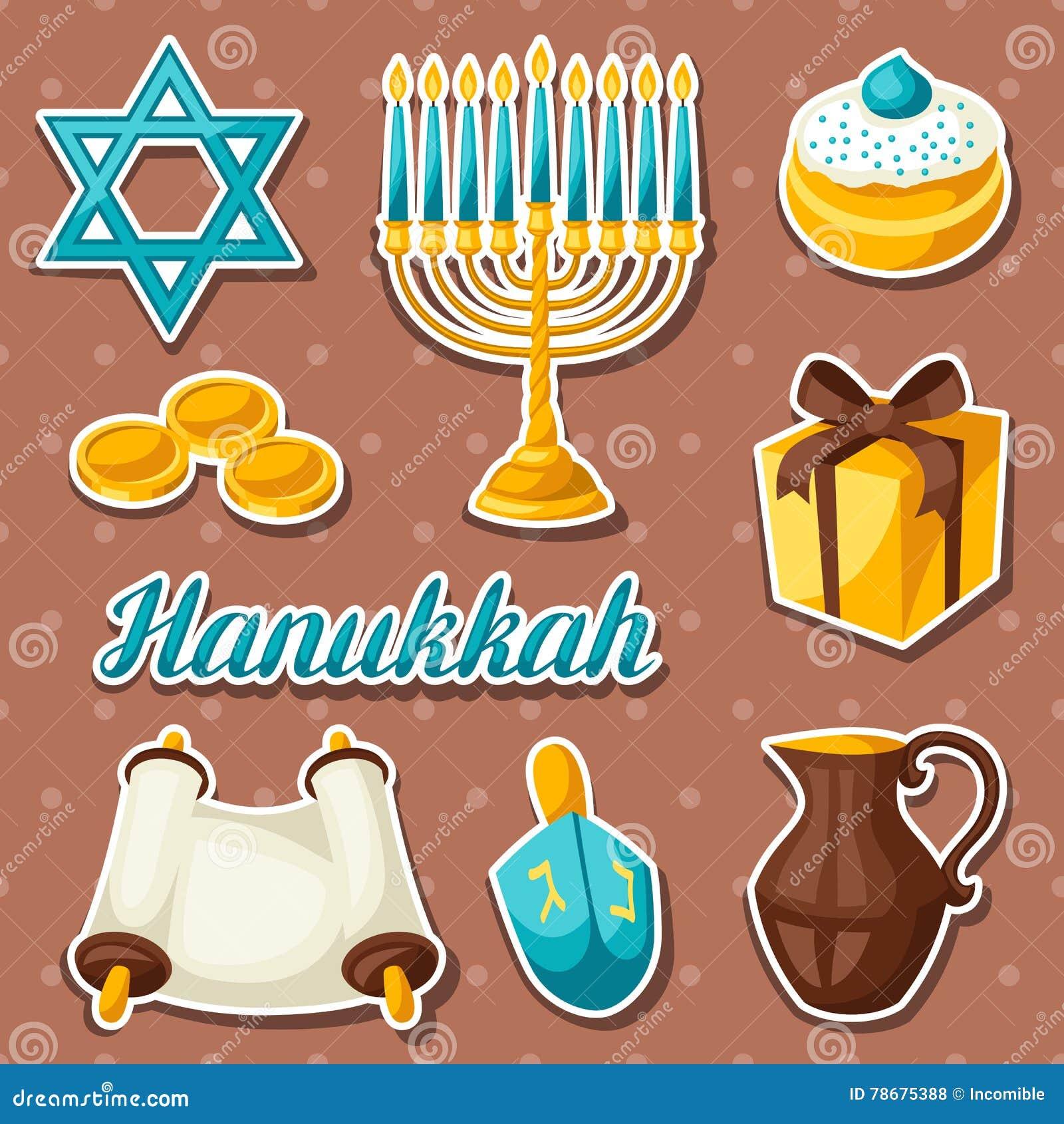 Set Żydowski Hanukkah świętowania majcher protestuje i ikony