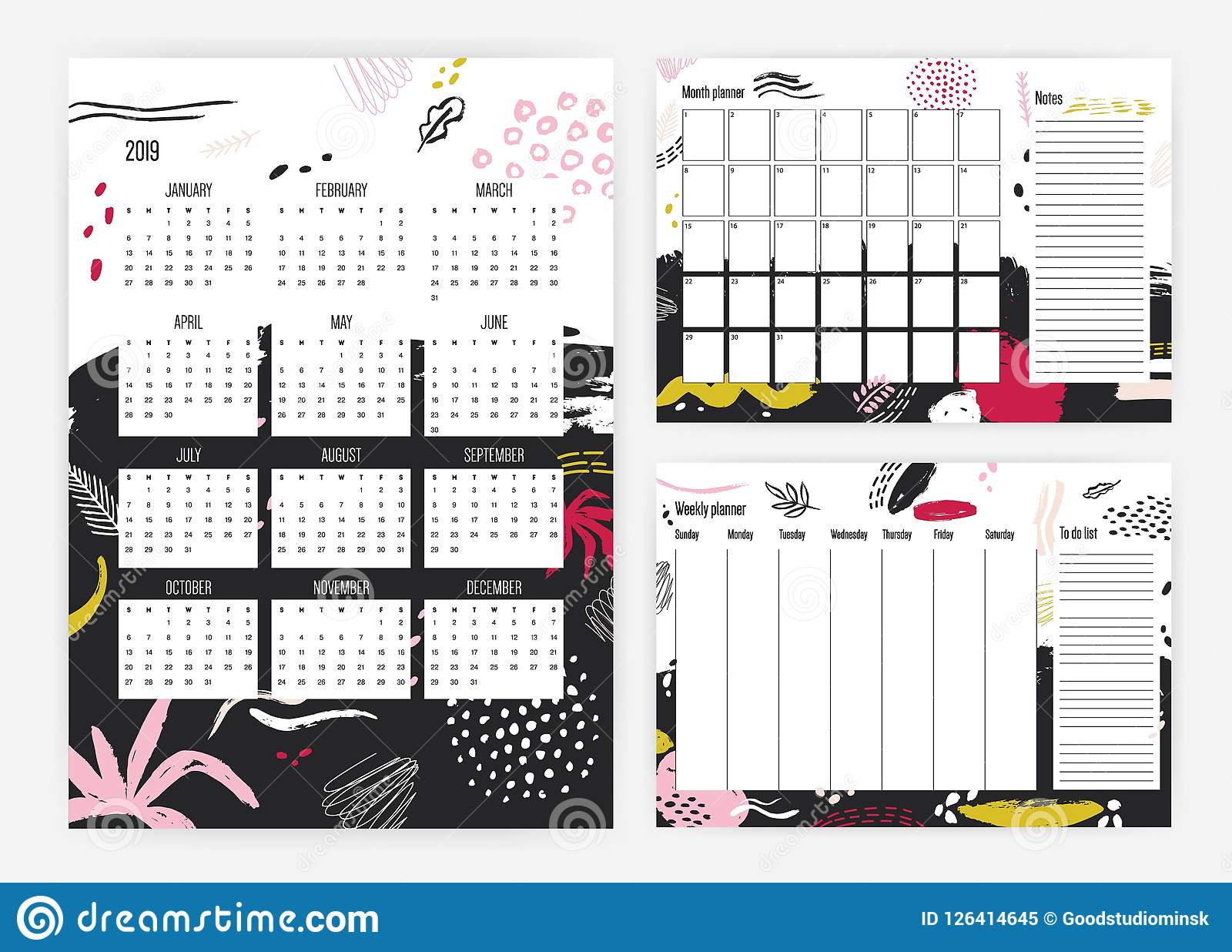 set of 2019 year calendar monthly and weekly planner templates