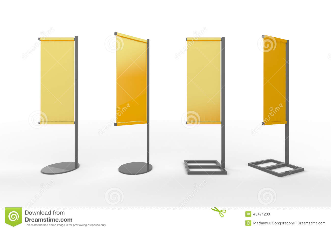 Set Of Yellow Blank Banner Japanese Flag Display With