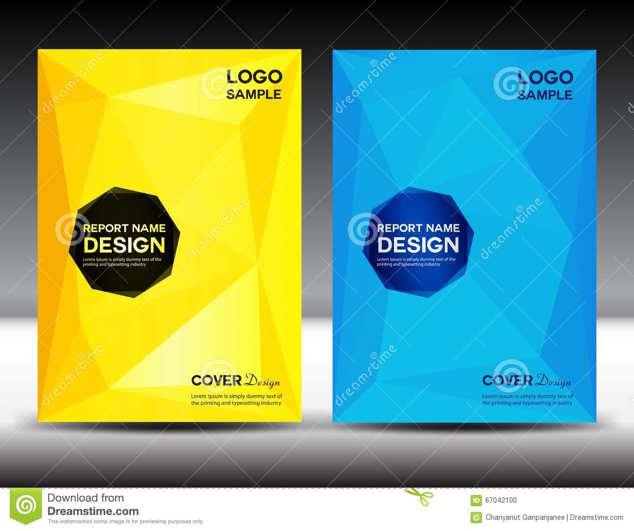 Yellow Book Cover Design : Set yellow and blue cover annual report design