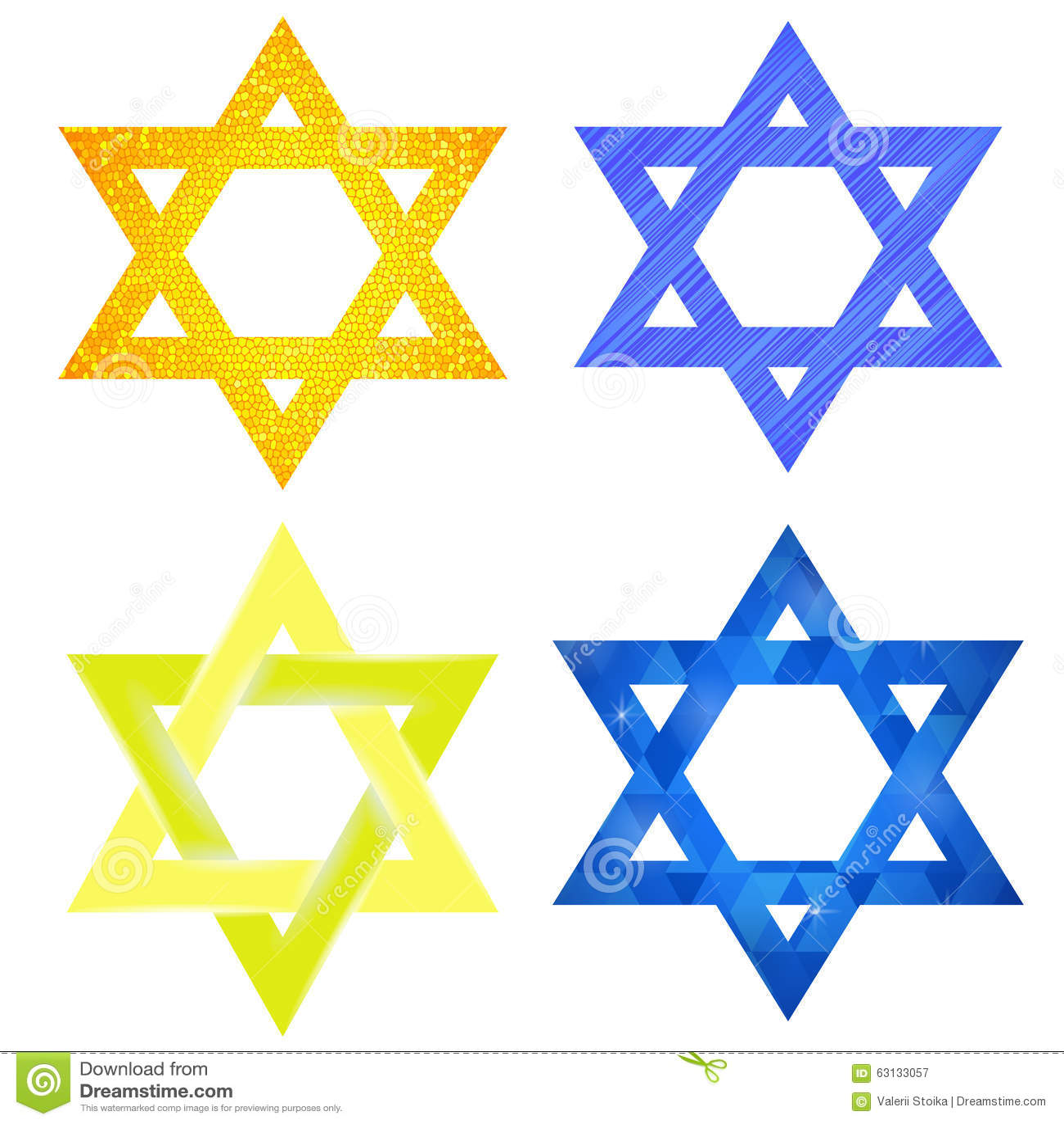 Set of Yellow and Blue Mosaic David Stars