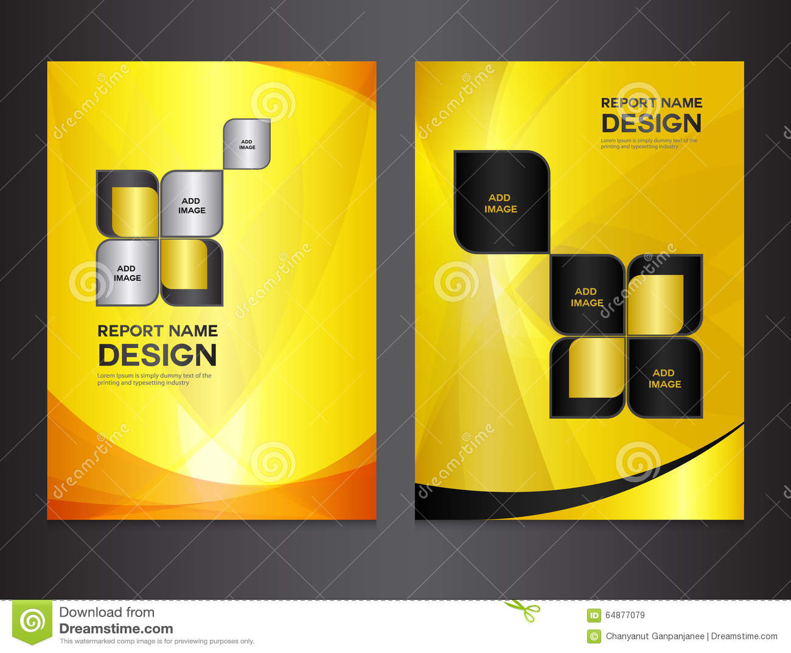 set yellow cover templates design stock vector image  set yellow cover templates design