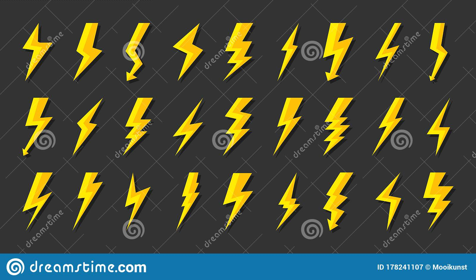 Yellow Lightning Bolt Icon Flash Power Vector Set Stock Vector Illustration Of Light Flash 178241107
