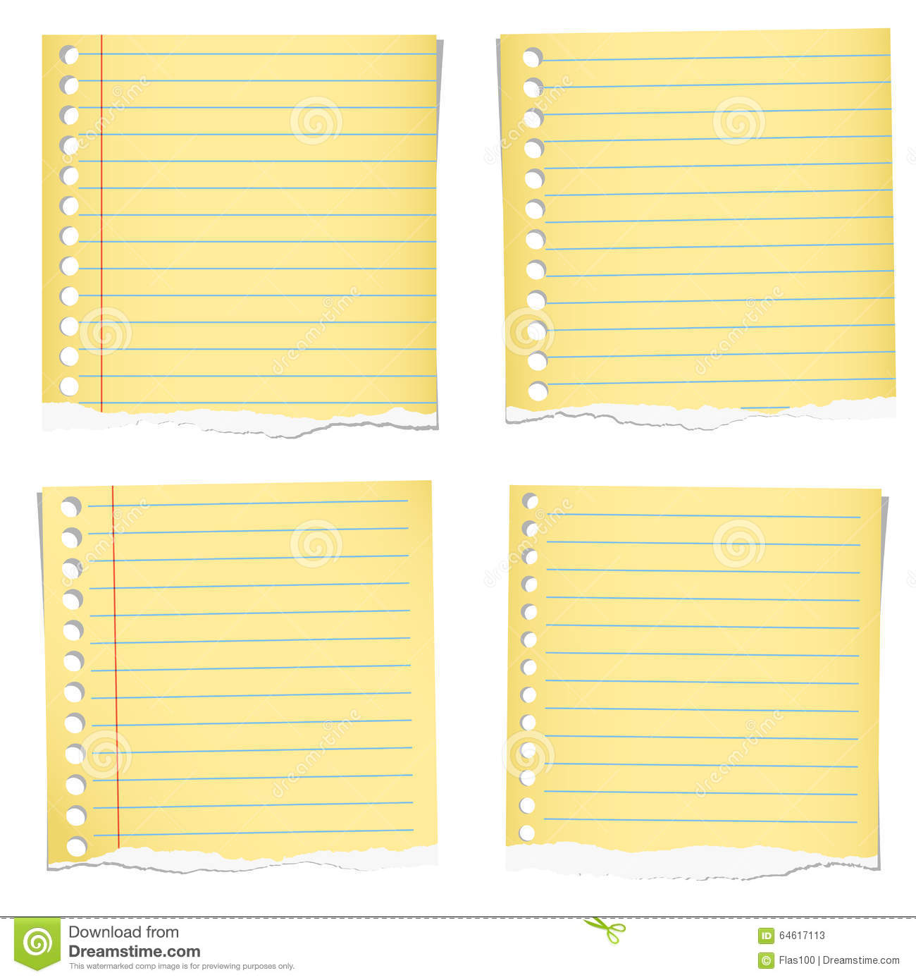 set of yellow torn notebook papers with blue lines stock vector