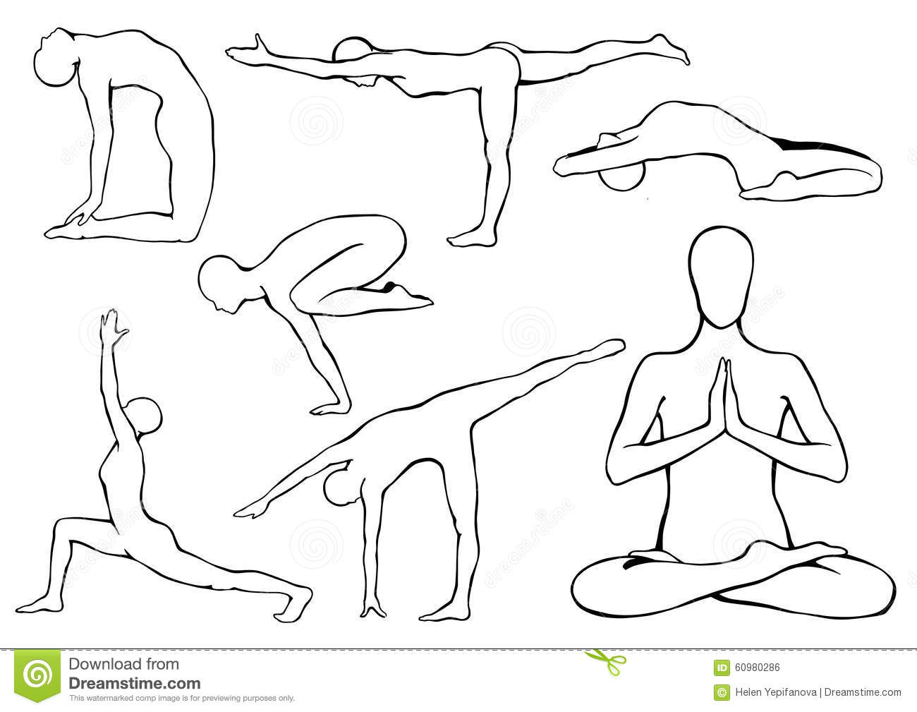 Line Drawing Yoga Pose : Set of yoga asanas stock vector illustration