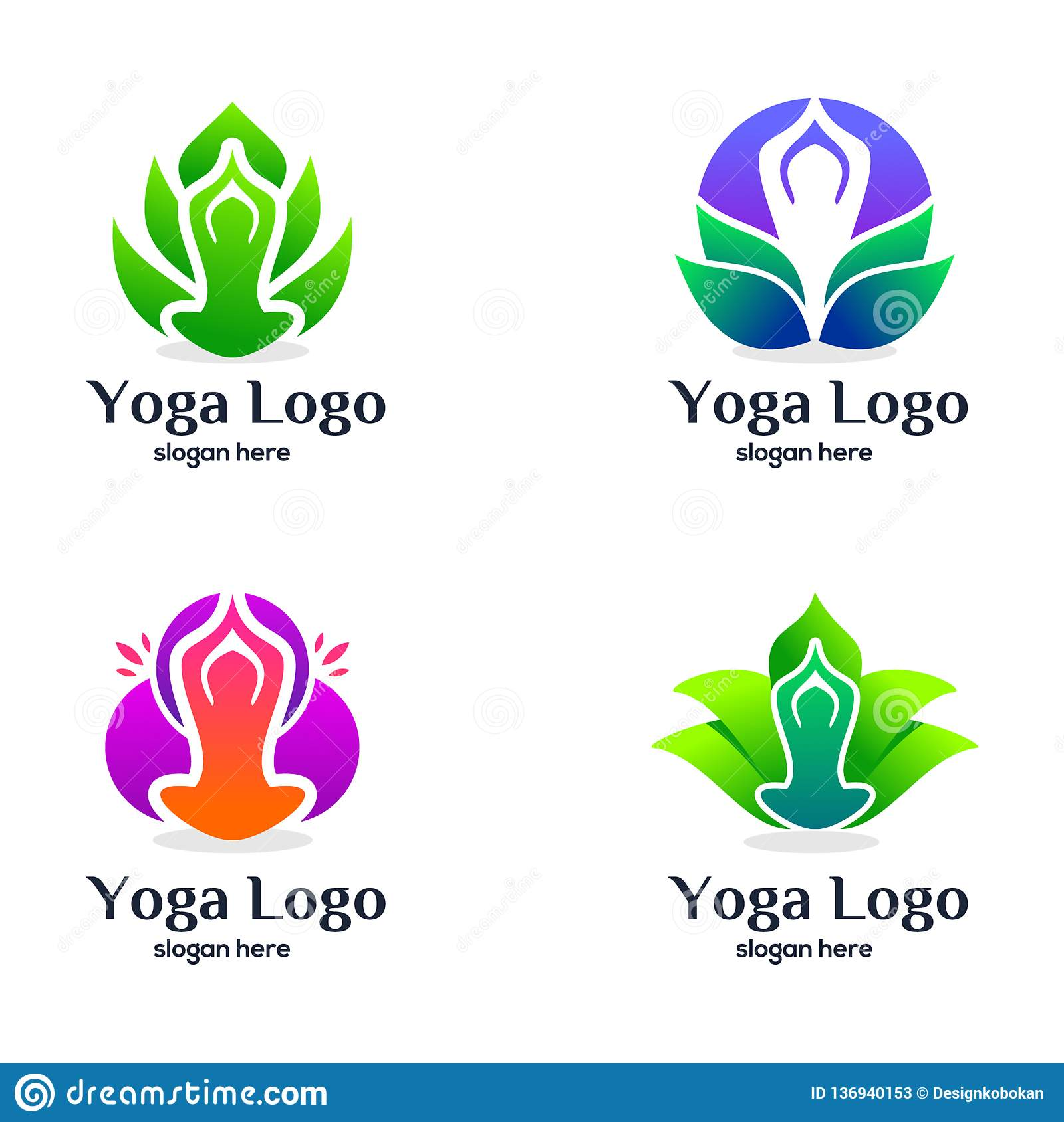 Set Of Yoga And Beauty Logo Design