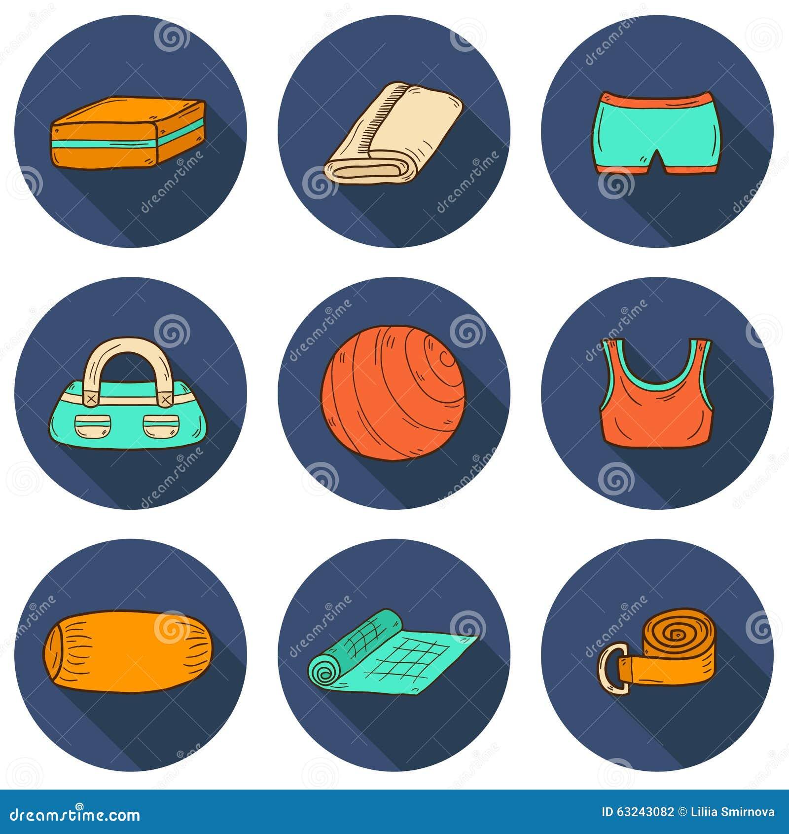 Set Of Yoga Equipment Icons Stock Illustration - Illustration of ... d5b032554