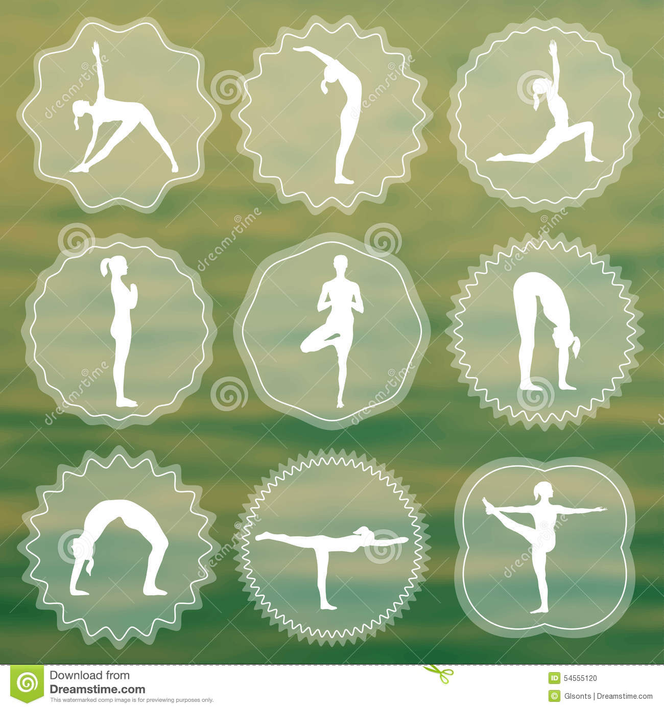 set of yoga logos silhouettes of girls in yoga poses