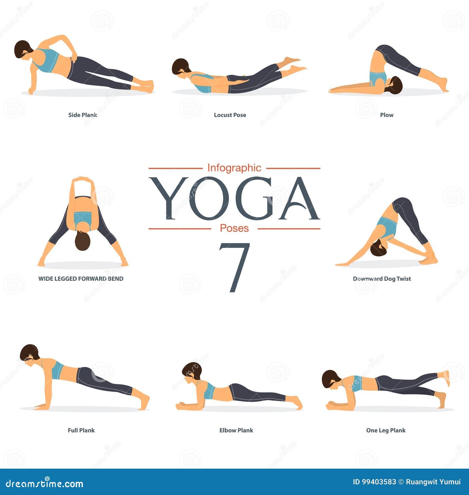Set Of 50 Yoga Poses In Flat Design . Woman Figures In Sportswear ...