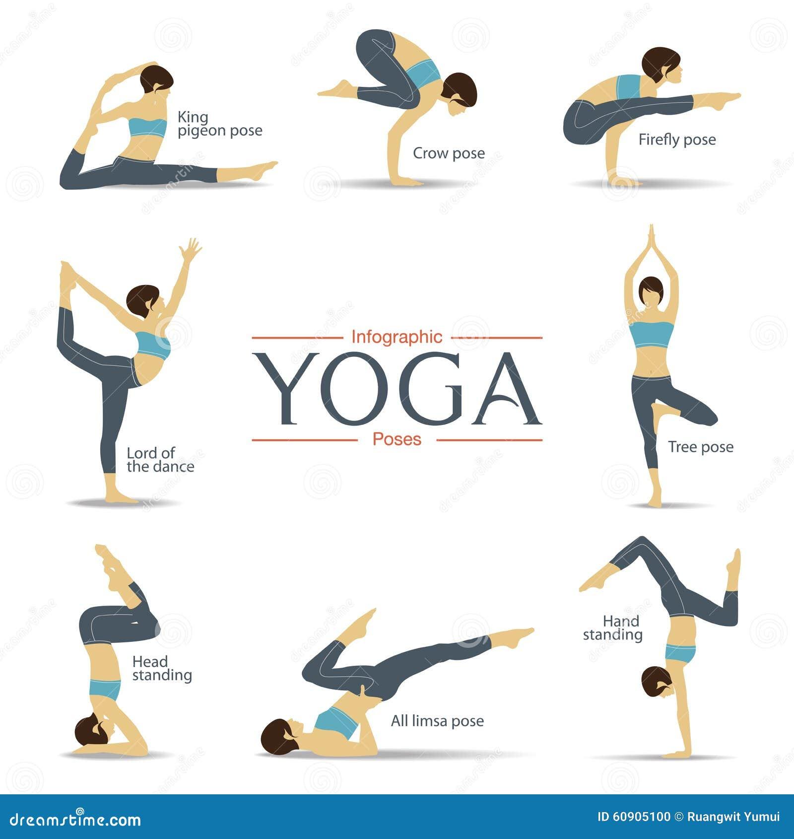 Stock Illustration Set Yoga Poses Flat Design Yoga Infographics Vector Illustration Image60905100 on Yoga Poses And Names For Kids