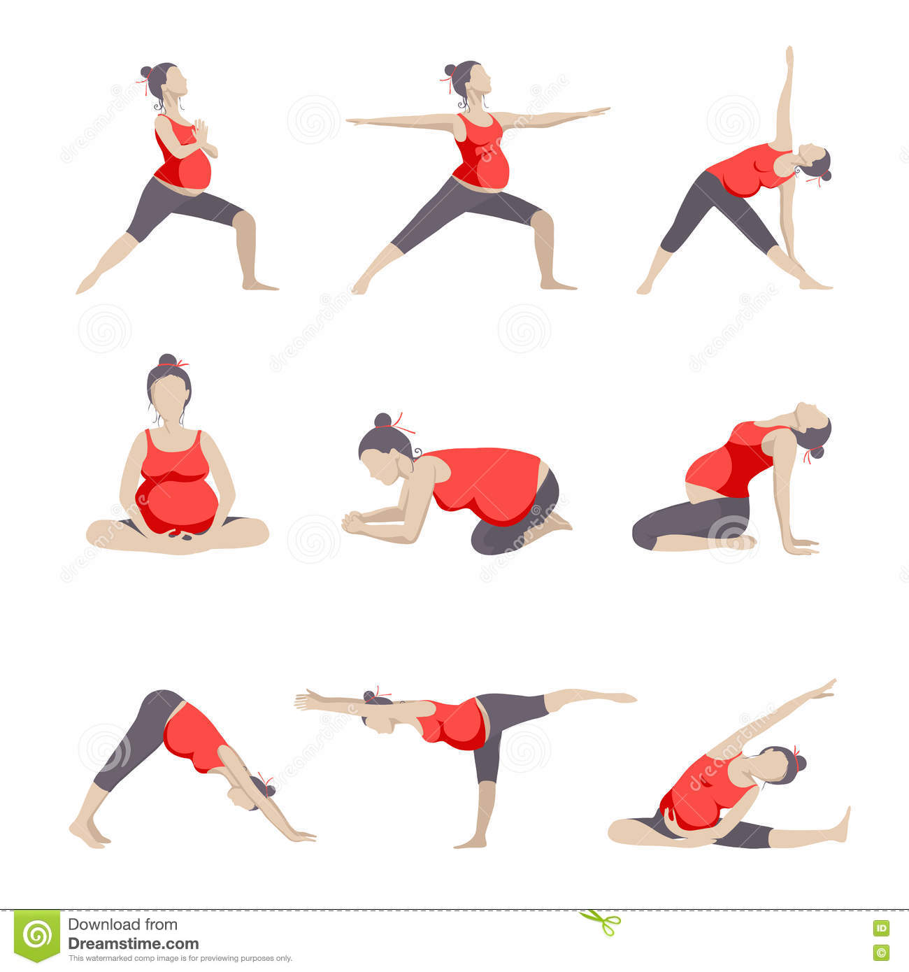 Set Of 9 Yoga Poses For Pregnant Women. Stock Vector ...
