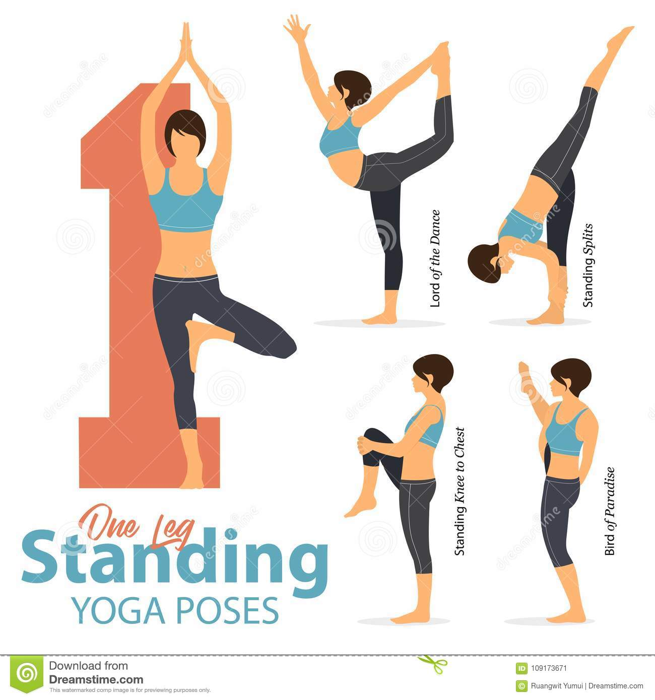 A Set Of Yoga Postures Female Figures For Infographic 5 Yoga In One Leg Standing Poses In Flat Design Woman Figures Exercise Stock Vector Illustration Of Fitness Nature 109173671