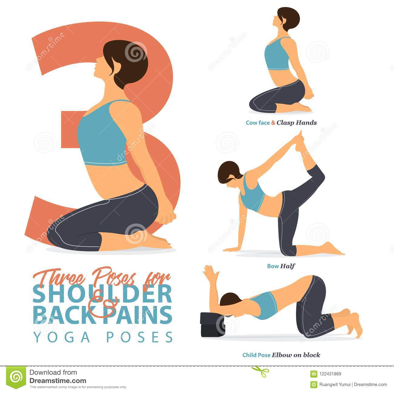 A Set Of Yoga Postures Female Figures For Infographic 3 Yoga Poses For Relief Lower Shoulder And Back Pain In Flat Design Stock Vector Illustration Of Illustration Beauty 122431869
