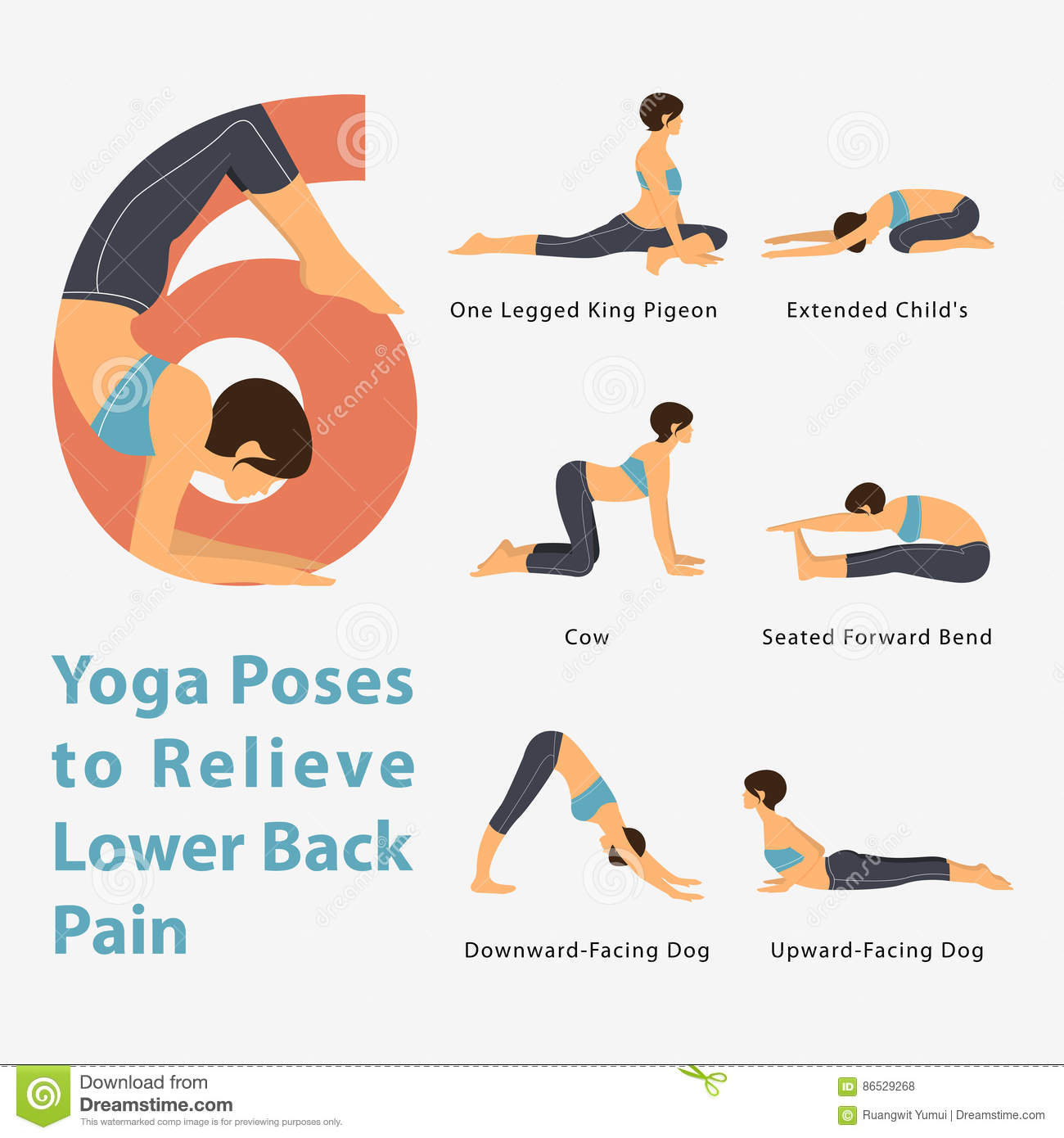 A Set of Yoga Postures Female Figures for Infographic 20 Yoga Poses ...
