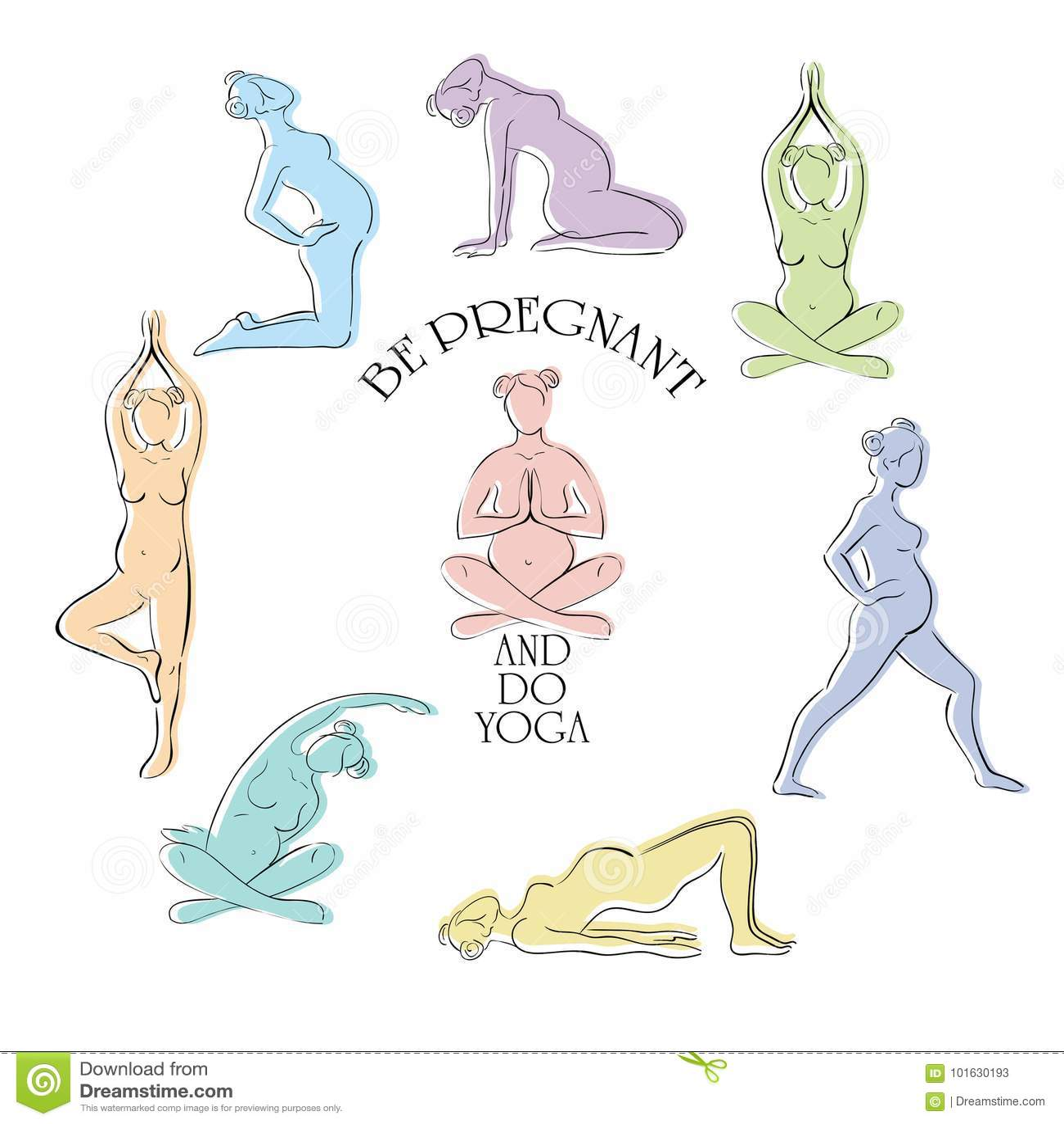 Yoga for pregnant vector set.