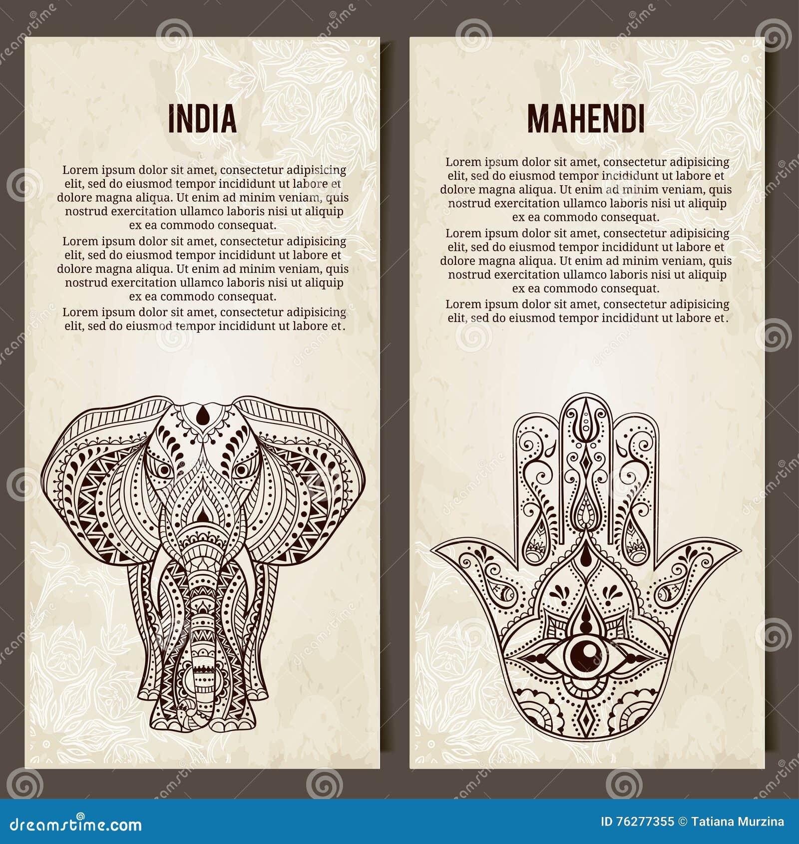 Set Of Yoga Symbols Horizontal Bannersdian Stock Vector