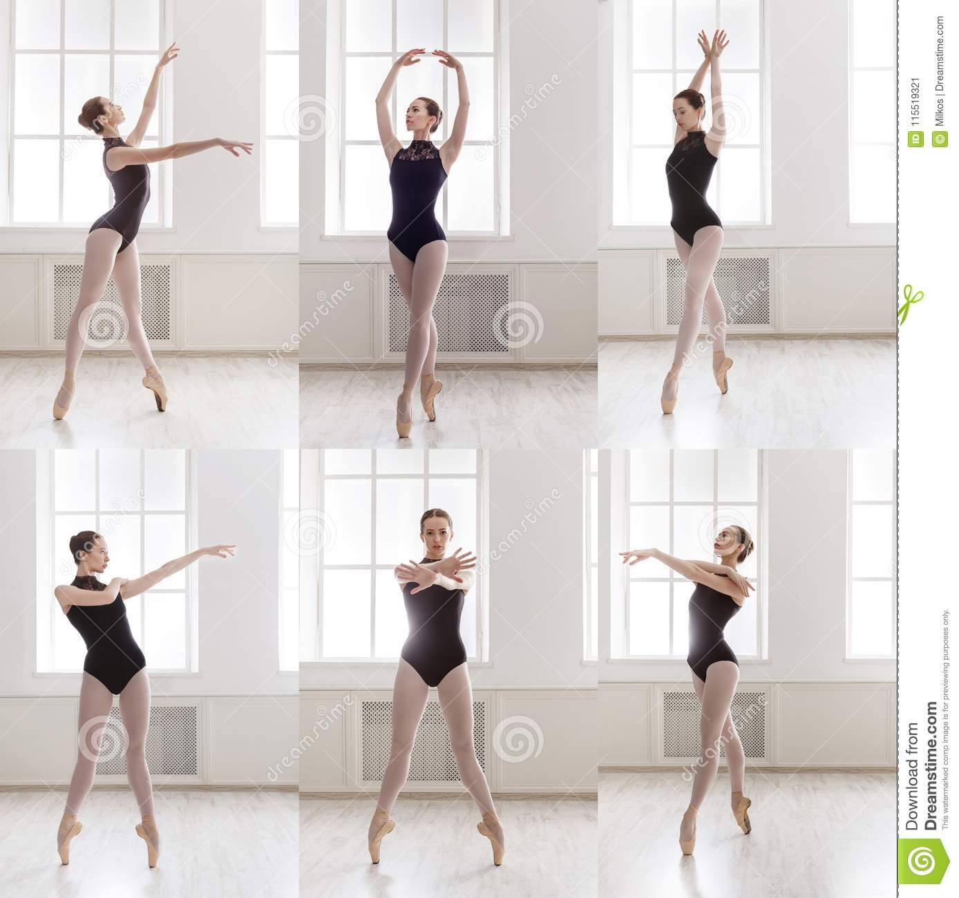 Set Of Young Ballerina Standing In Ballet Poses Stock Image Image Of Adult Black 115519321