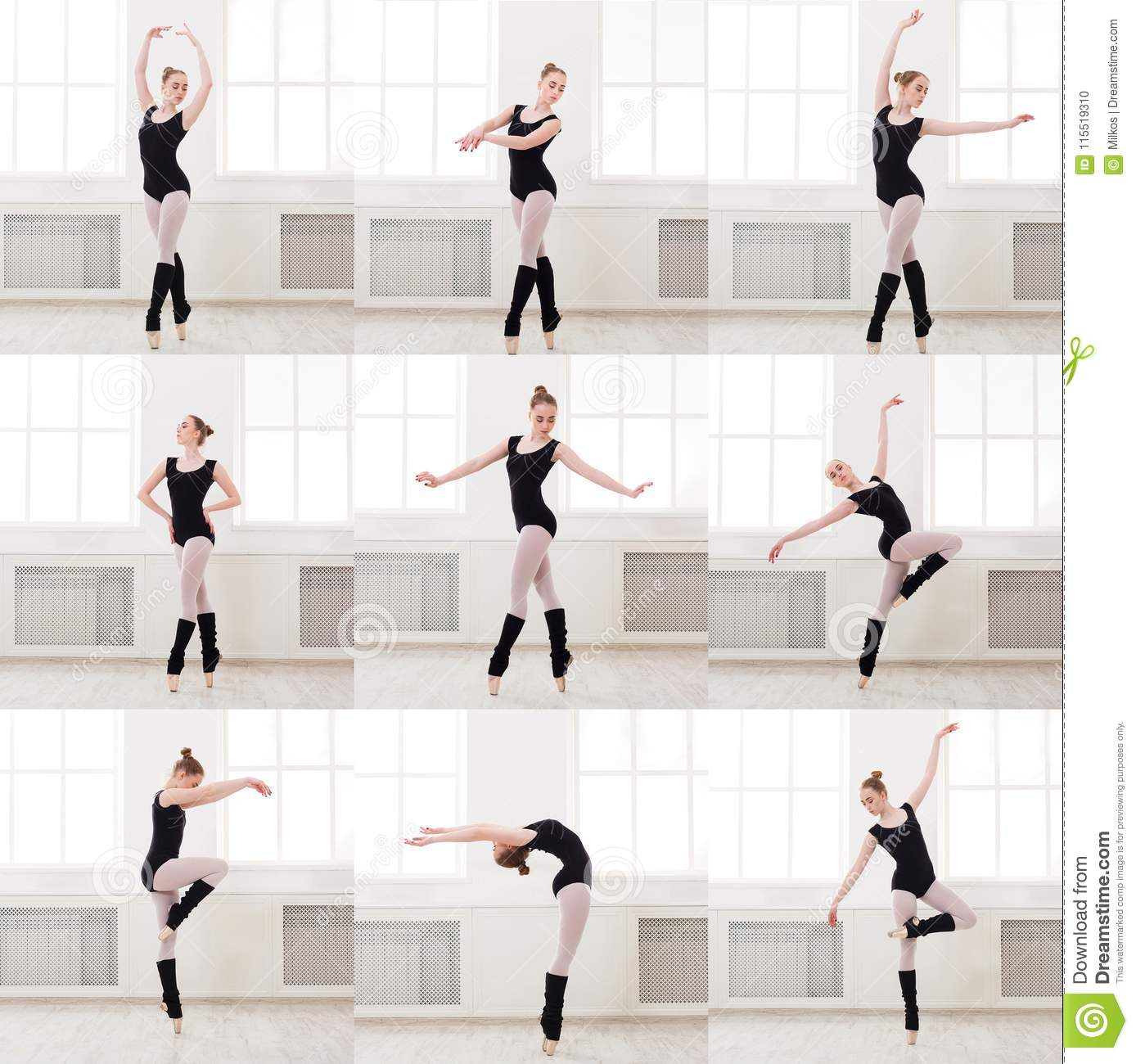 Set Of Young Ballerina Standing In Ballet Poses Stock Photo Image Of Adult Leisure 115519310