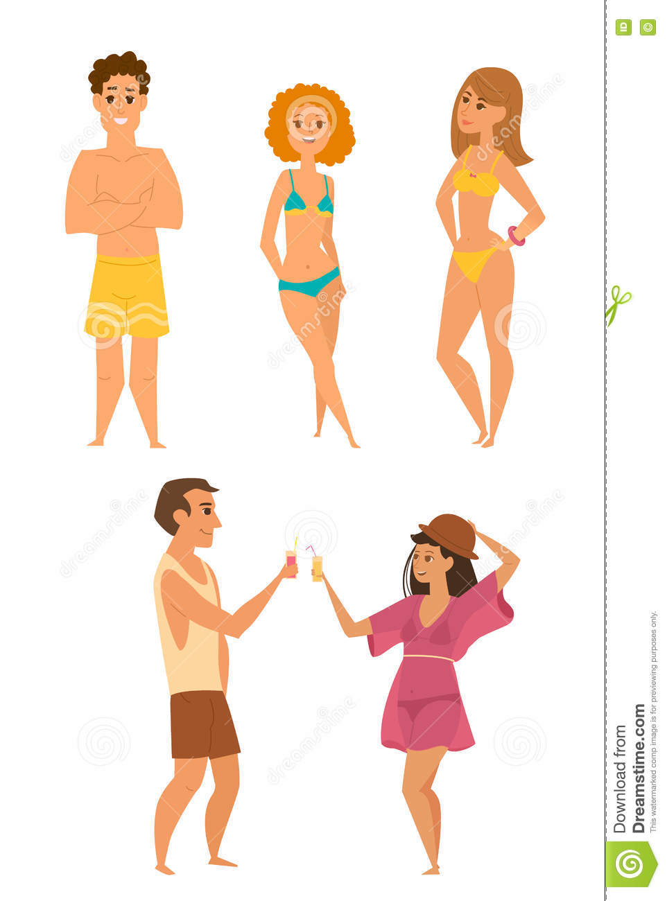 Set Of Young People On The Beach Cartoon Vector ...