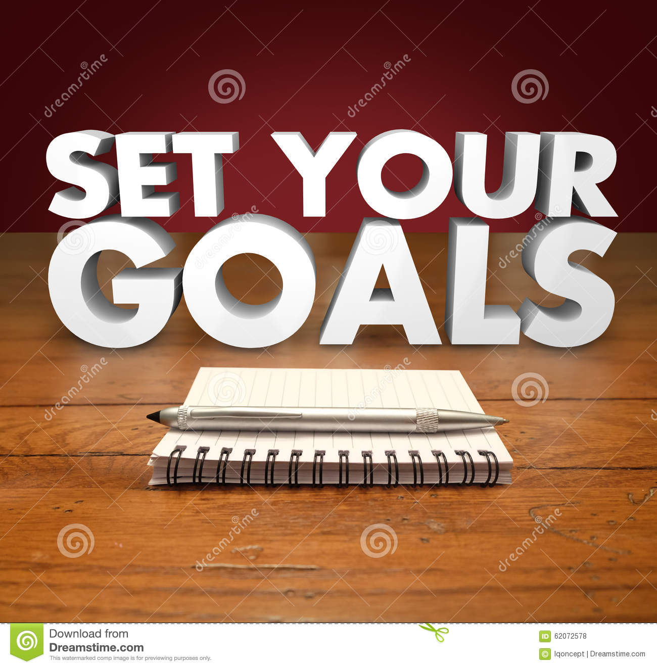 Set your goals 3d words notepad pen stock photo image for Place setting images